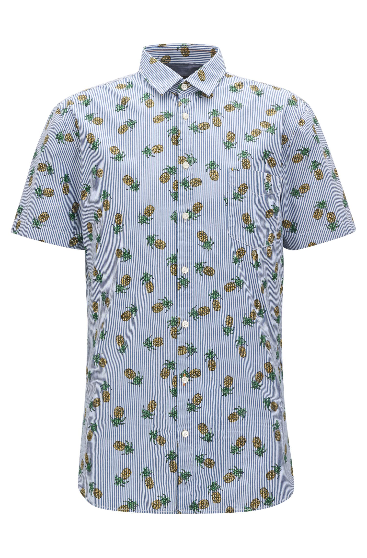 Striped & Pineapple-Print Cotton Sport Shirt, Slim Fit | Cattitude Short
