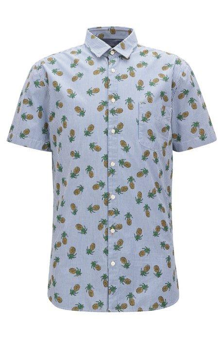 Boss Striped Pineapple Print Cotton Sport Shirt Slim Fit