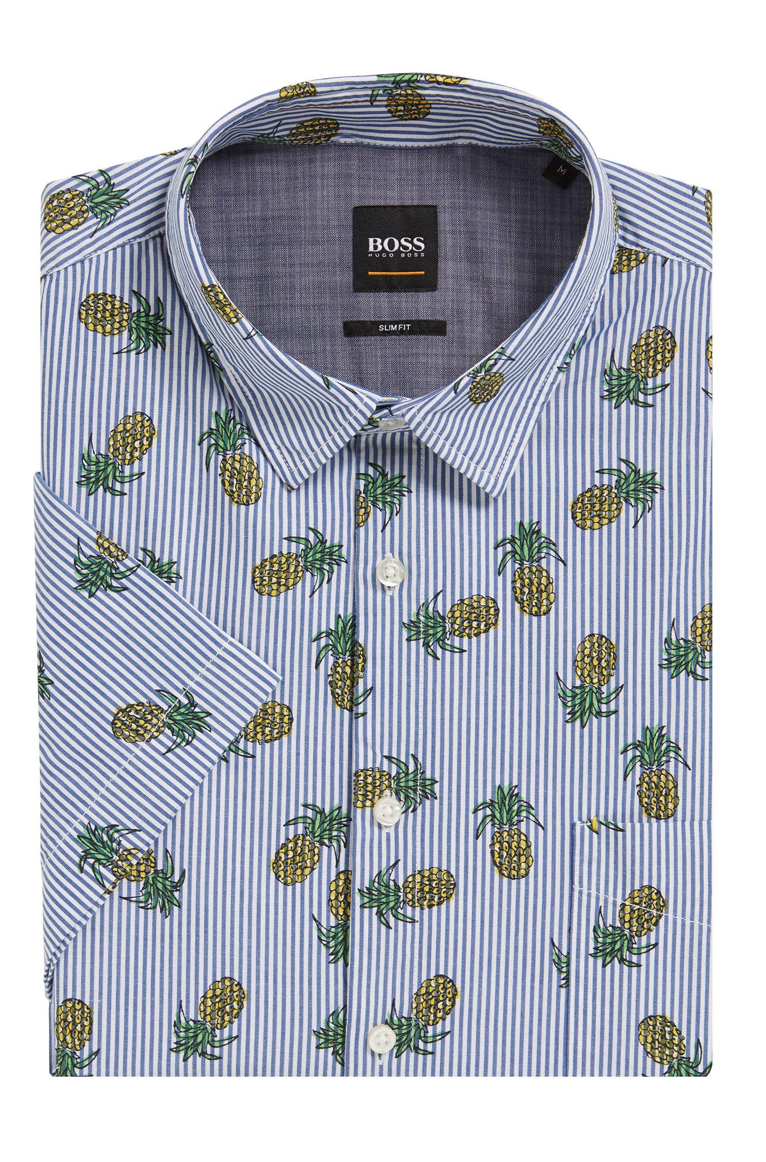 Striped & Pineapple-Print Cotton Sport Shirt, Slim Fit | Cattitude Short, Dark Blue