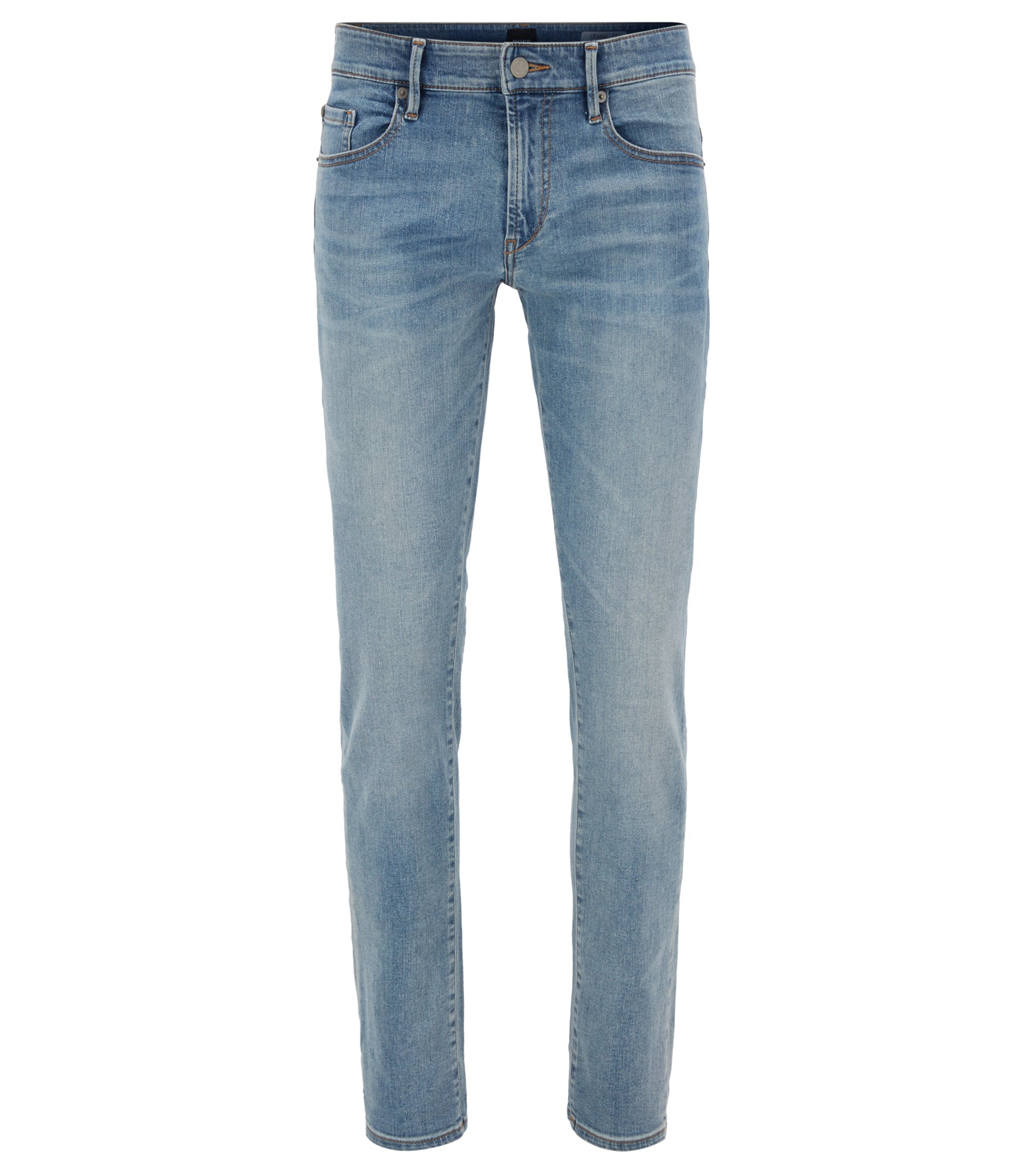 Slim-fit jeans in brushed-satin stretch denim BOSS