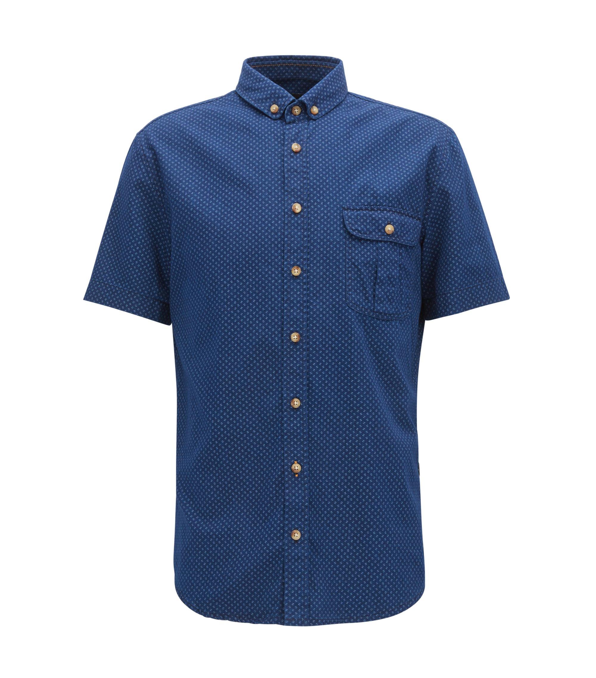 Geo-Patterned Sport Shirt, Slim Fit | Elibre, Dark Blue