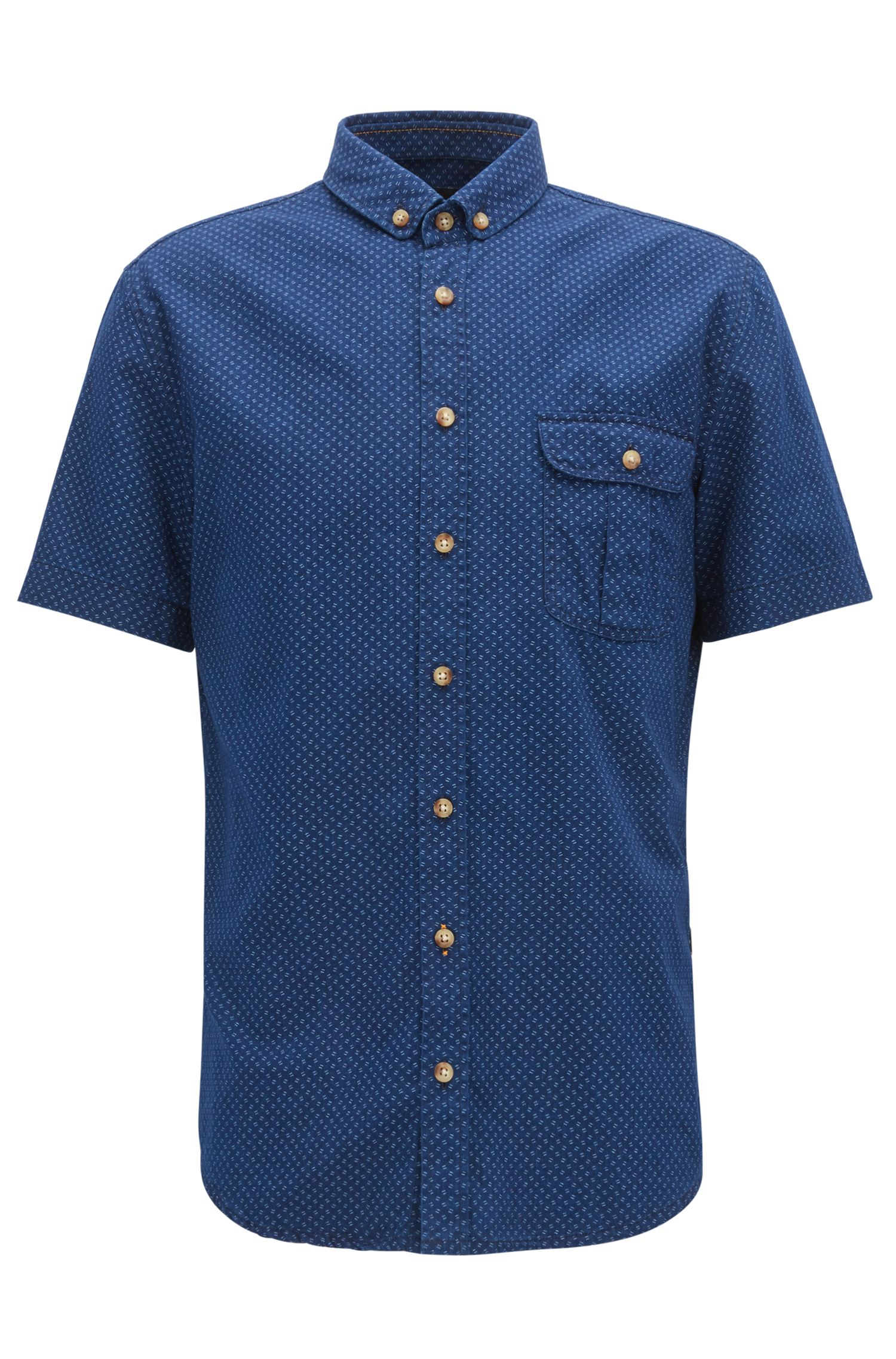 Geo-Patterned Sport Shirt, Slim Fit | Elibre, Dark Blue