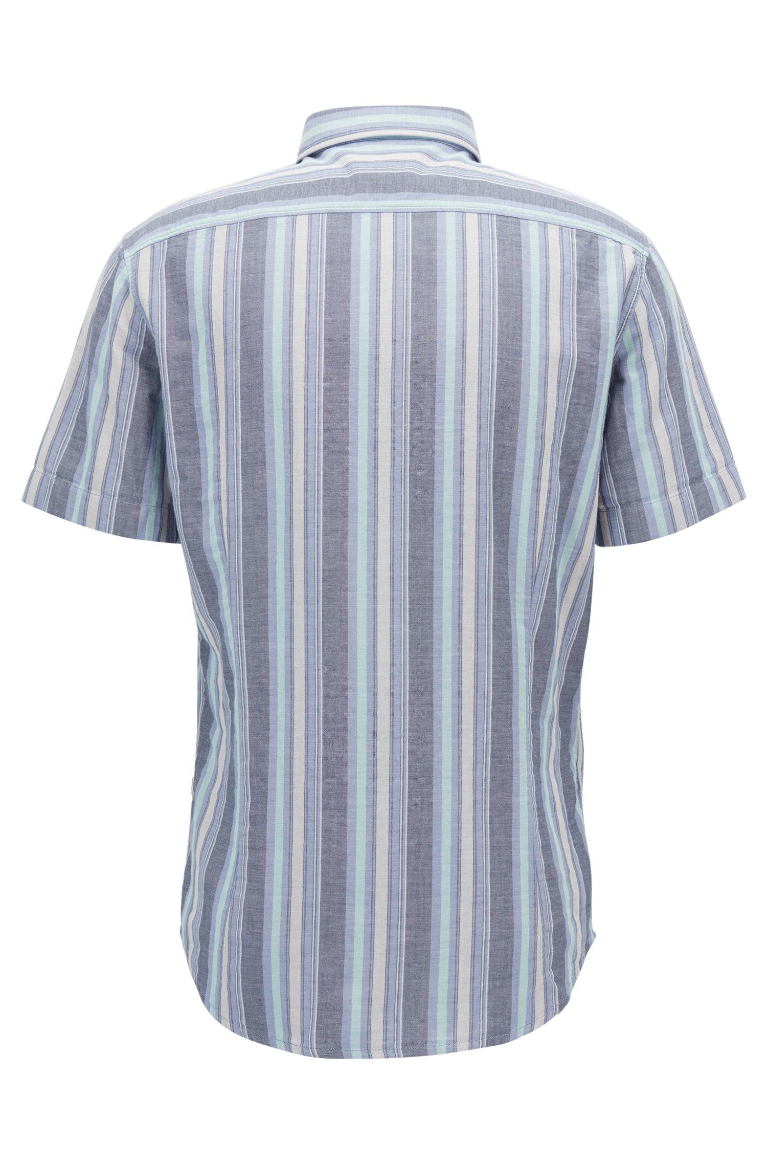 Striped Cotton Sport Shirt, Slim Fit | Elibre