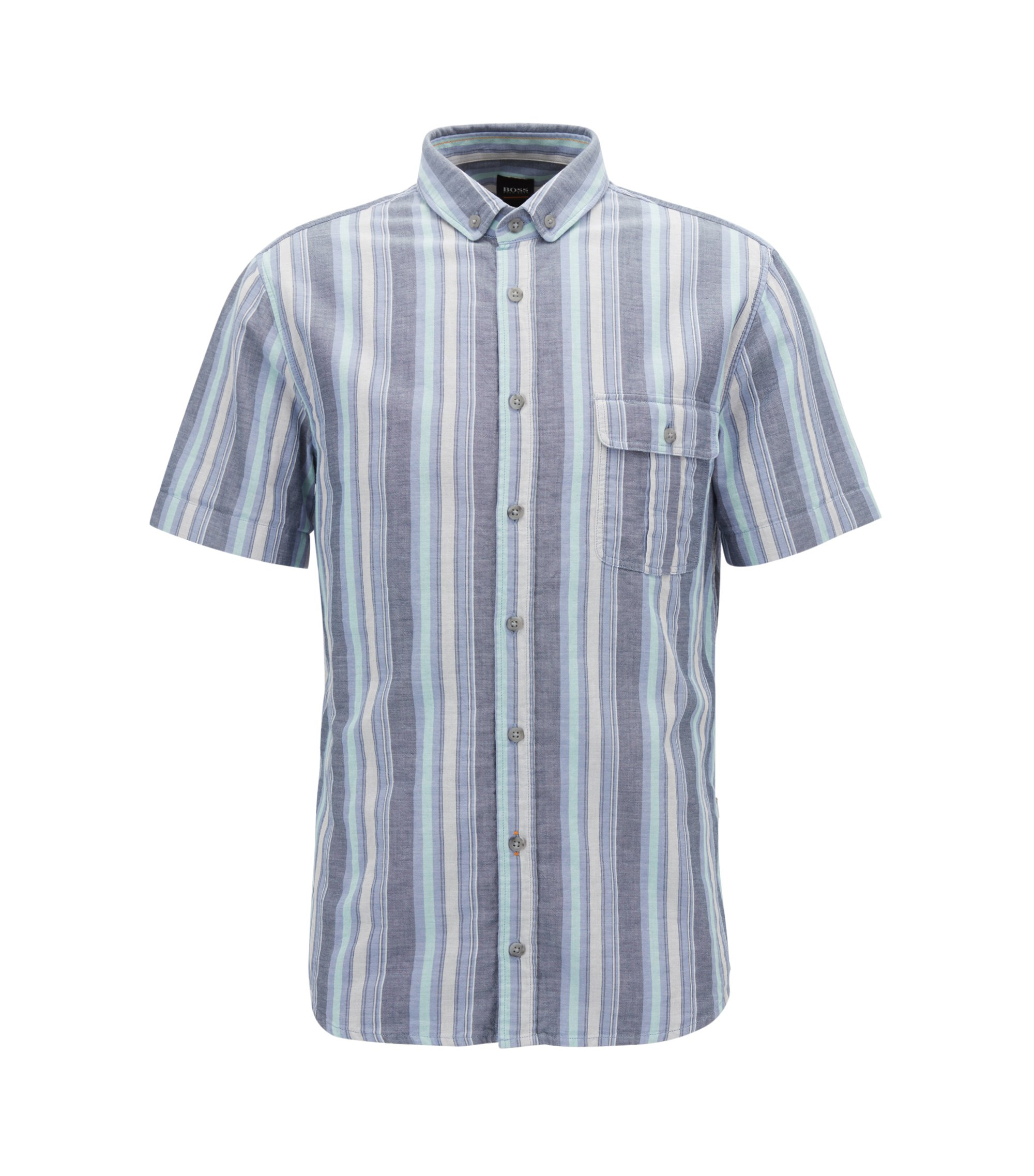 Striped Cotton Sport Shirt, Slim Fit | Elibre, Dark Blue
