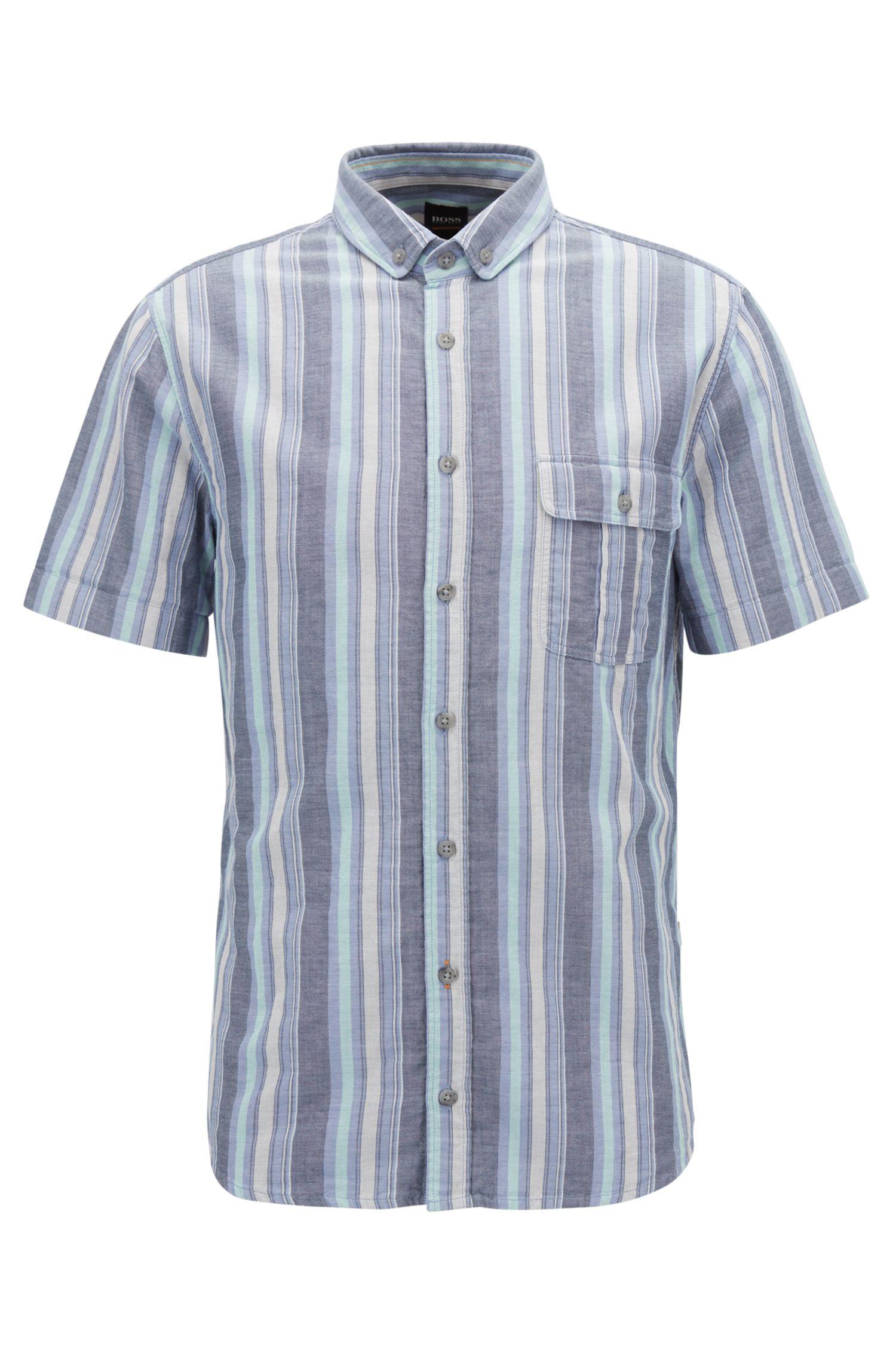 Striped Cotton Sport Shirt, Slim Fit | Elibre