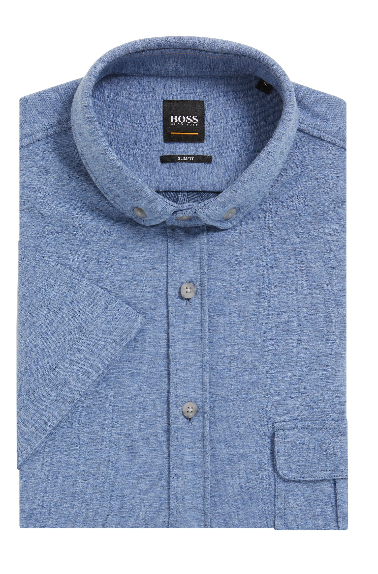Cotton Jersey Sport Shirt, Slim Fit | Elibre, Dark Blue