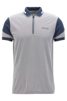 Zipped Polo Shirt, Slim Fit | Prek Pro, Dark Blue