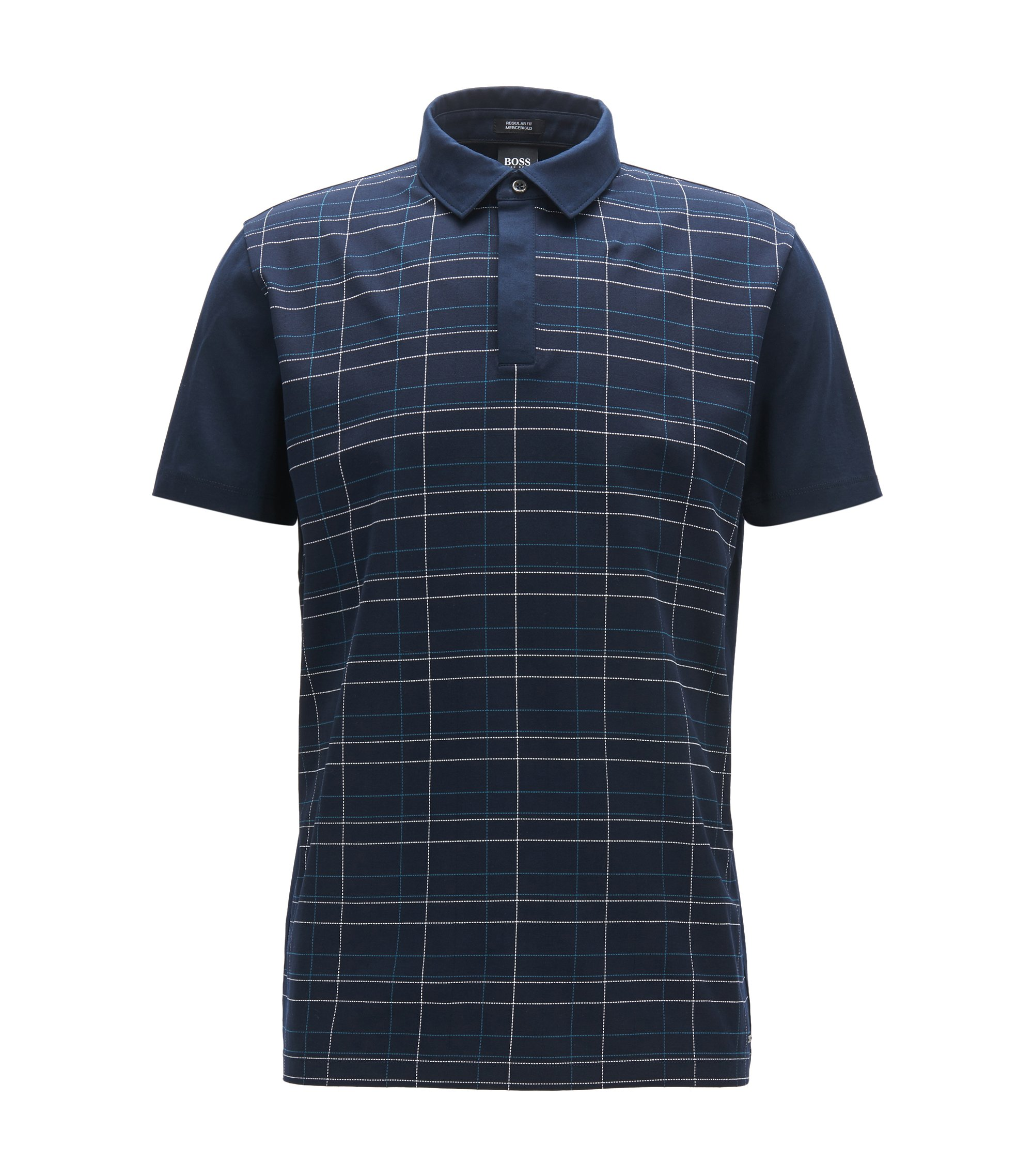 Plaid Mercerized Cotton Polo Shirt, Regular Fit | Press, Dark Blue
