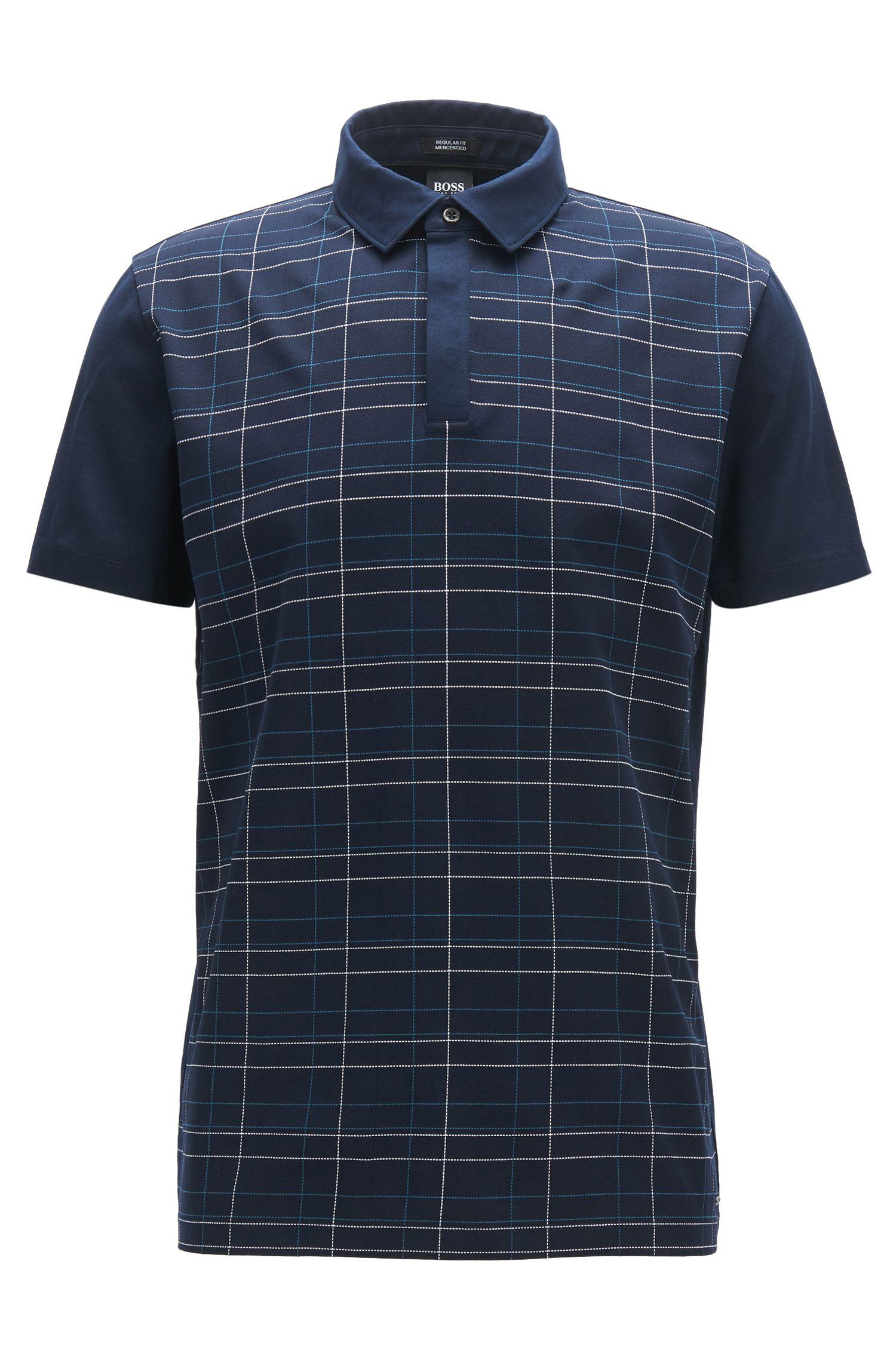 Plaid Mercerized Cotton Polo Shirt, Regular Fit | Press, Dark Blue