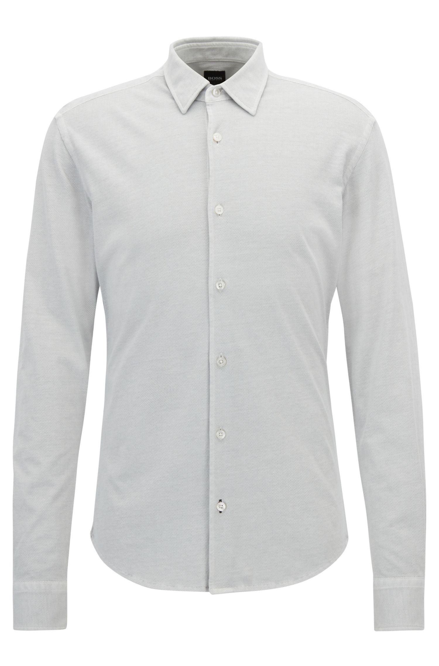 Cotton Sport Shirt, Slim Fit | Reid F, Open Grey