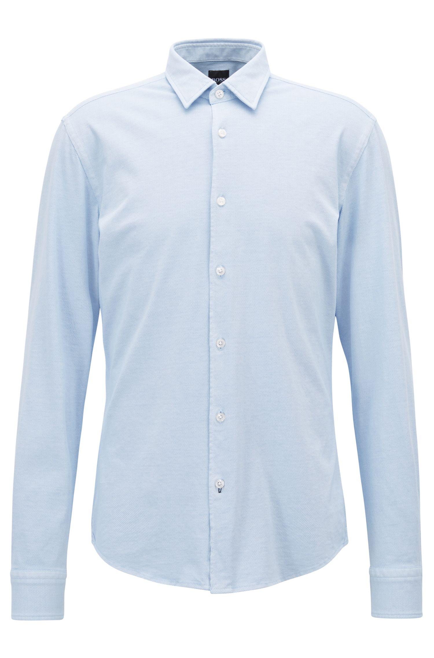 Cotton Sport Shirt, Slim Fit | Reid F, Dark Blue
