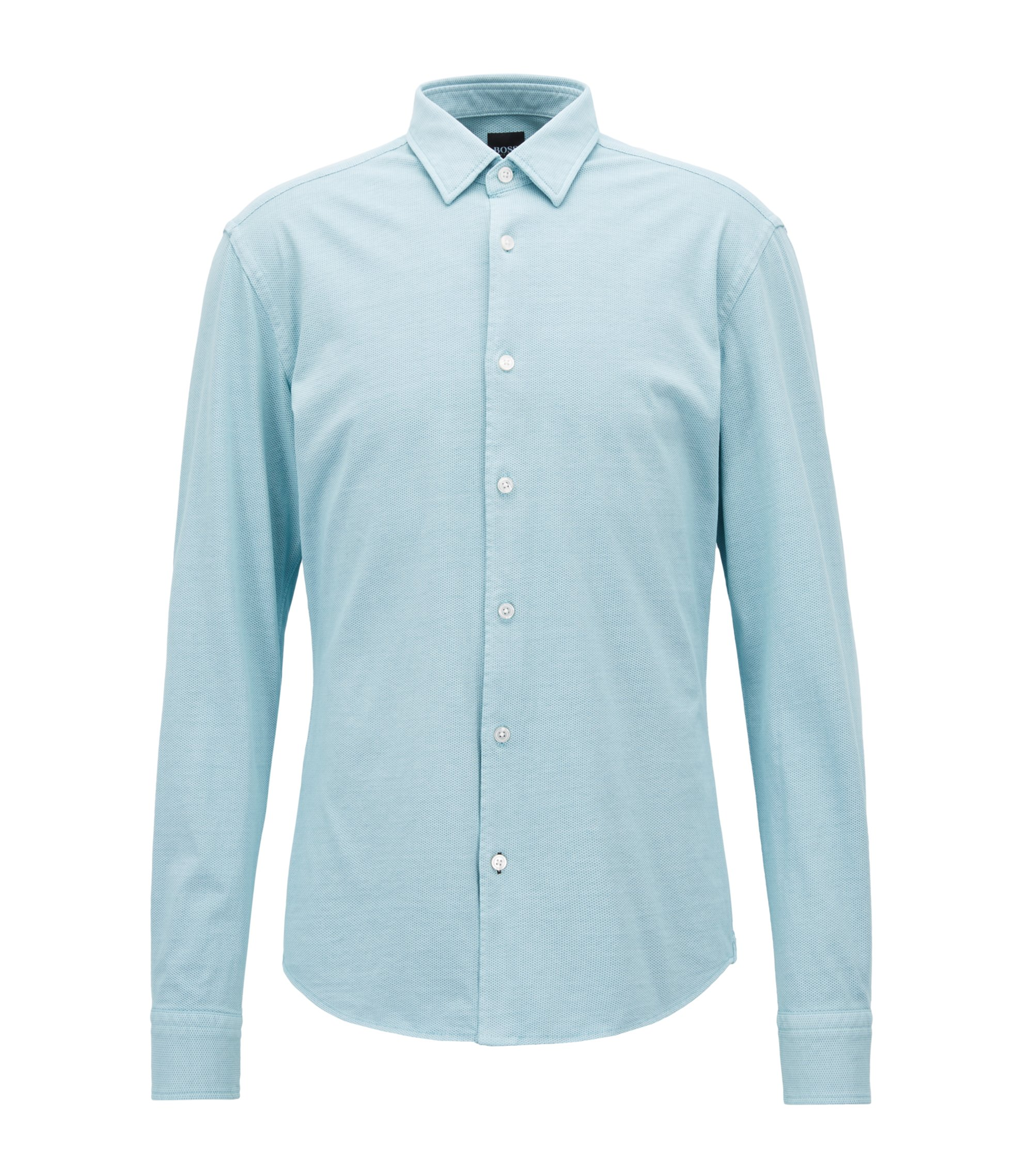 Cotton Sport Shirt, Slim Fit | Reid F, Light Blue