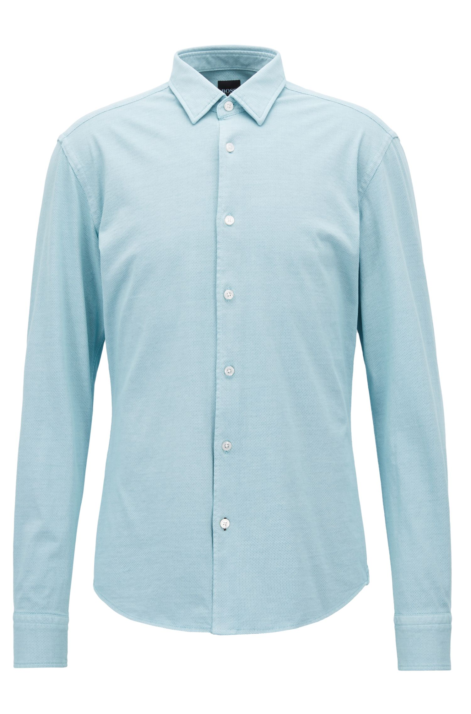 Cotton Sport Shirt, Slim Fit | Reid F, Light Blue