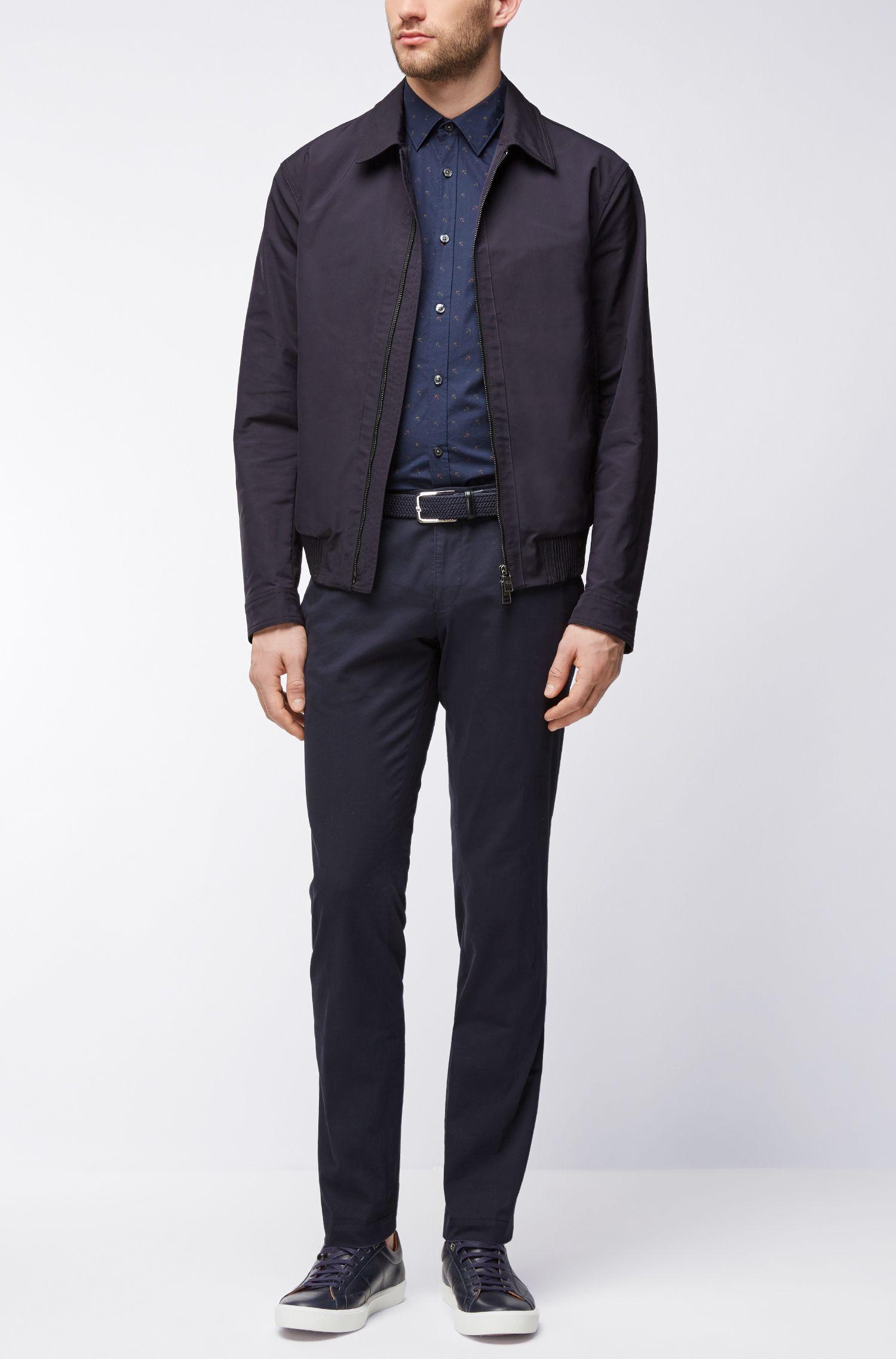 Anchor-Print Sport Shirt, Slim Fit | Ronn, Dark Blue
