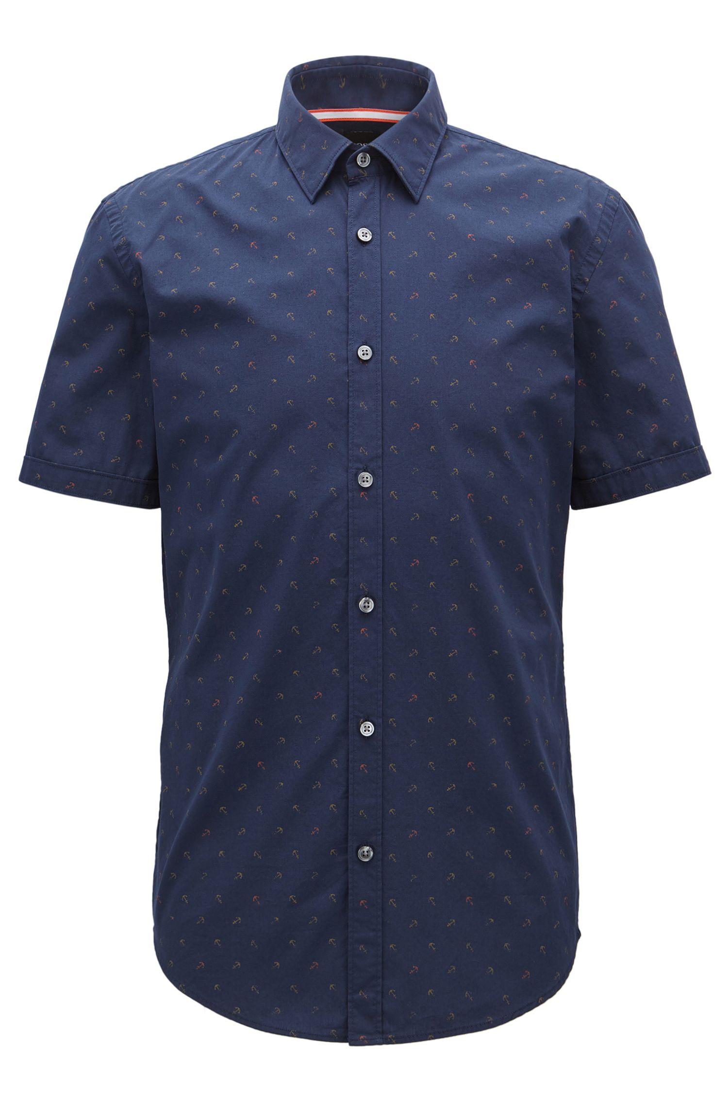 Anchor-Print Sport Shirt, Slim Fit | Ronn