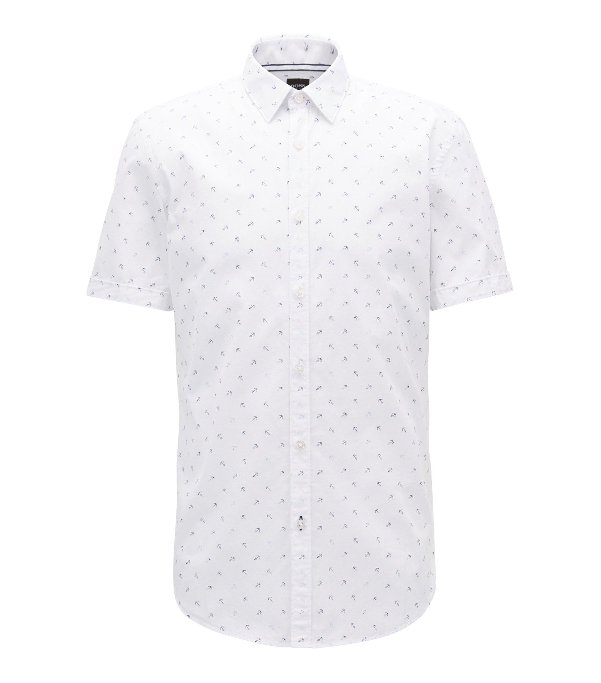 Anchor-Print Sport Shirt, Slim Fit | Ronn, Light Blue