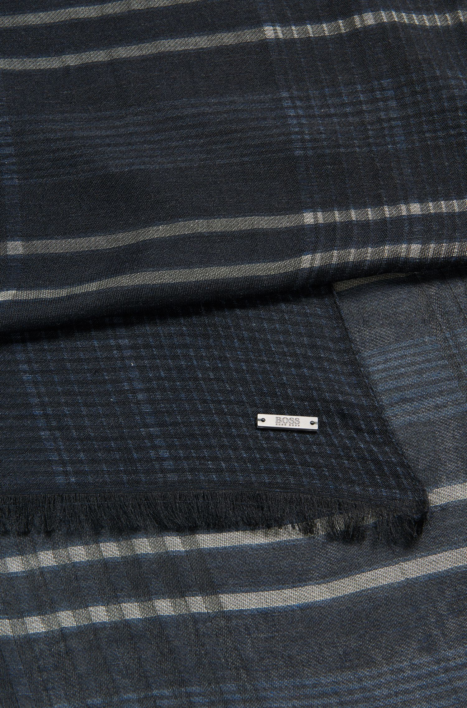 Cotton Silk Plaid Scarf | T-Canto, Dark Blue