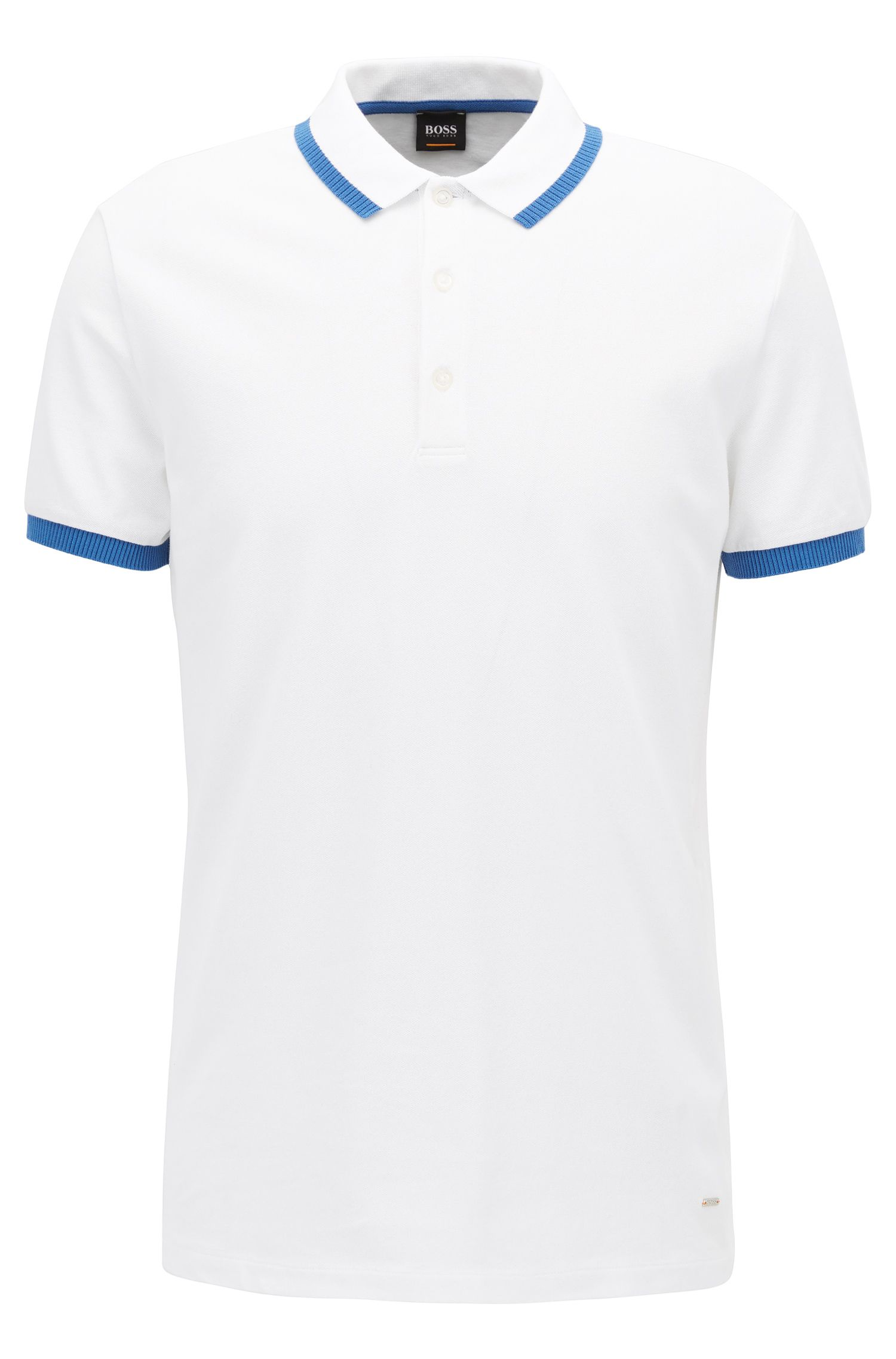 Stretch Cotton Polo Shirt, Slim Fit | Paiy, White