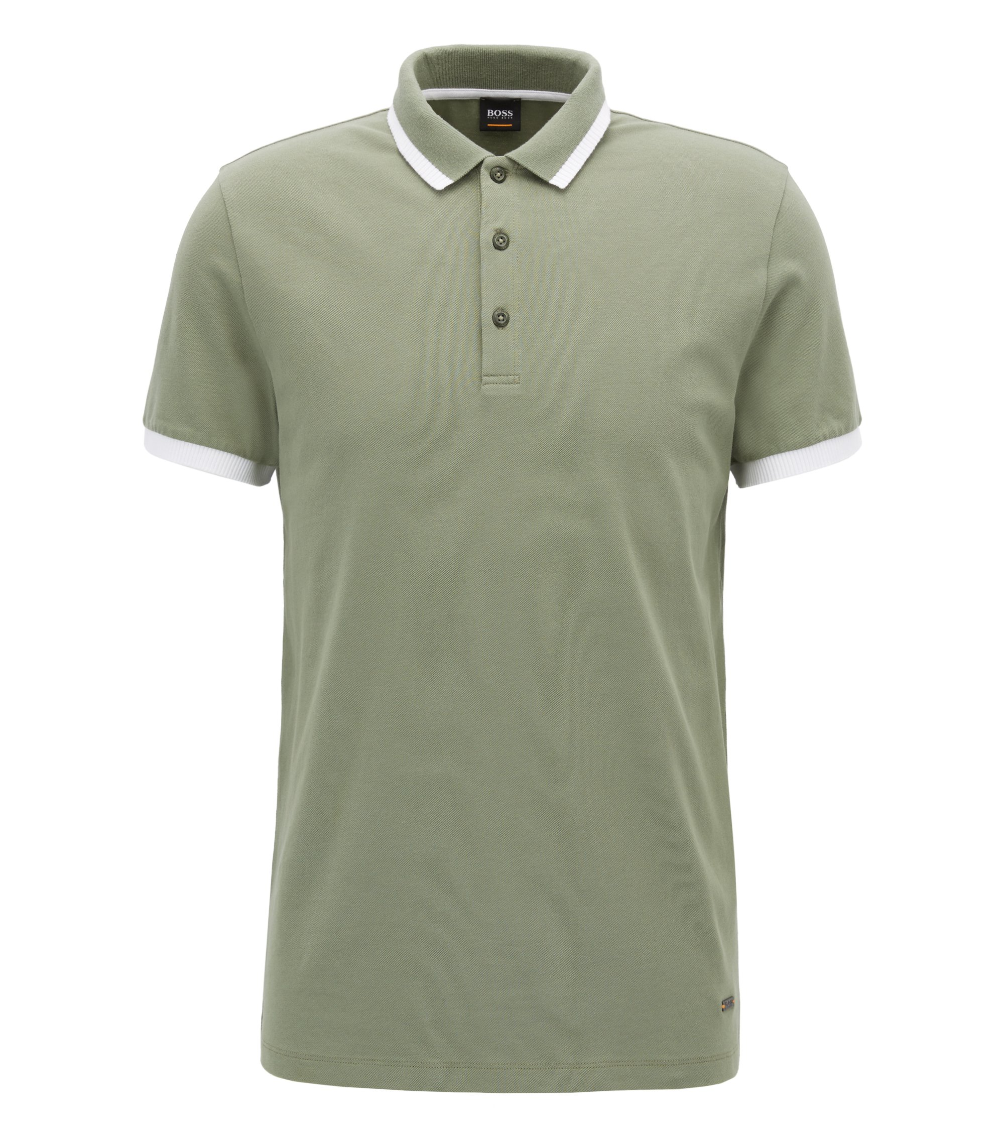 Stretch Cotton Polo Shirt, Slim Fit | Paiy, Light Green