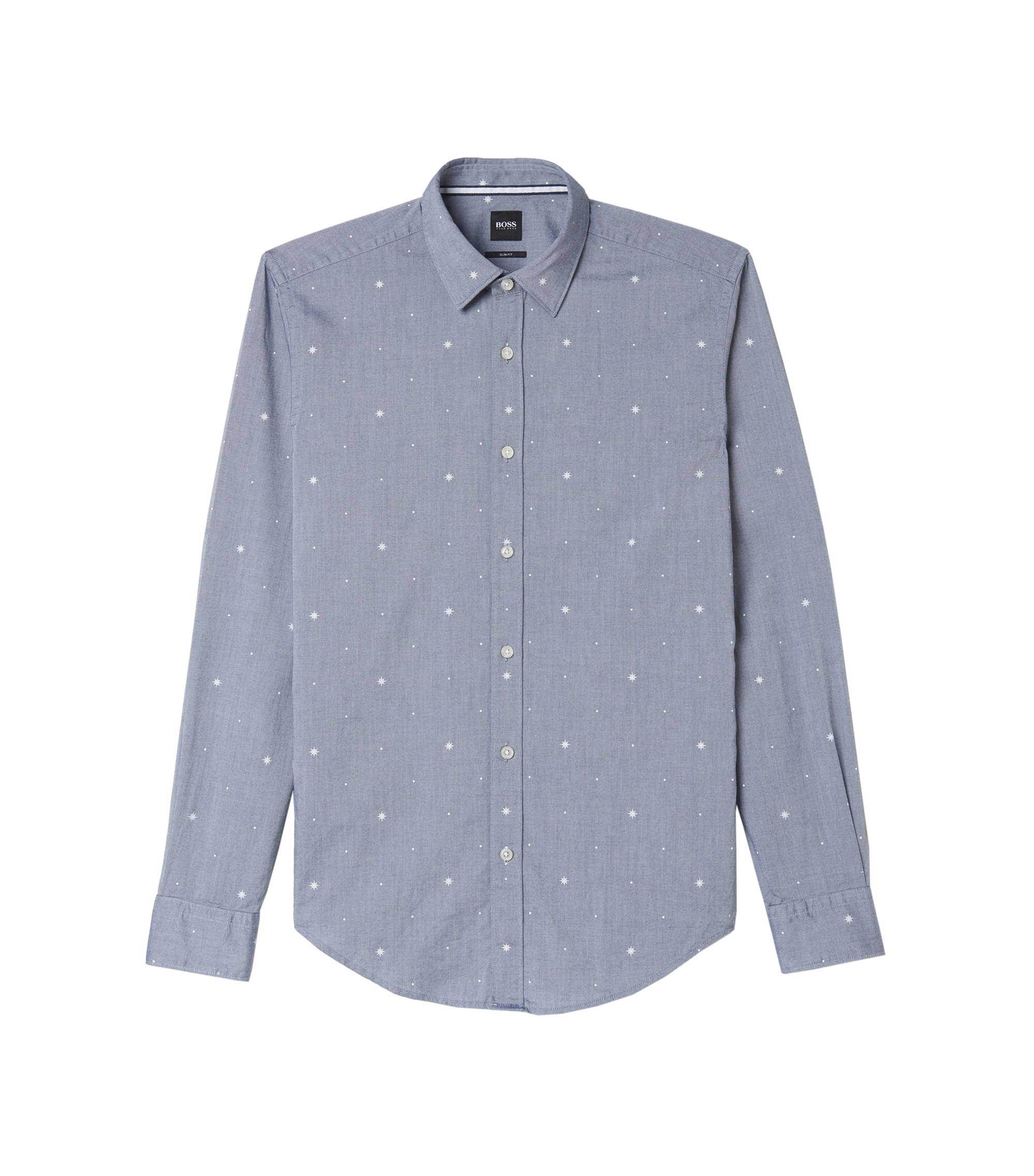 Fil Coupé Cotton Dress Shirt, Slim Fit | Ronni, Dark Blue