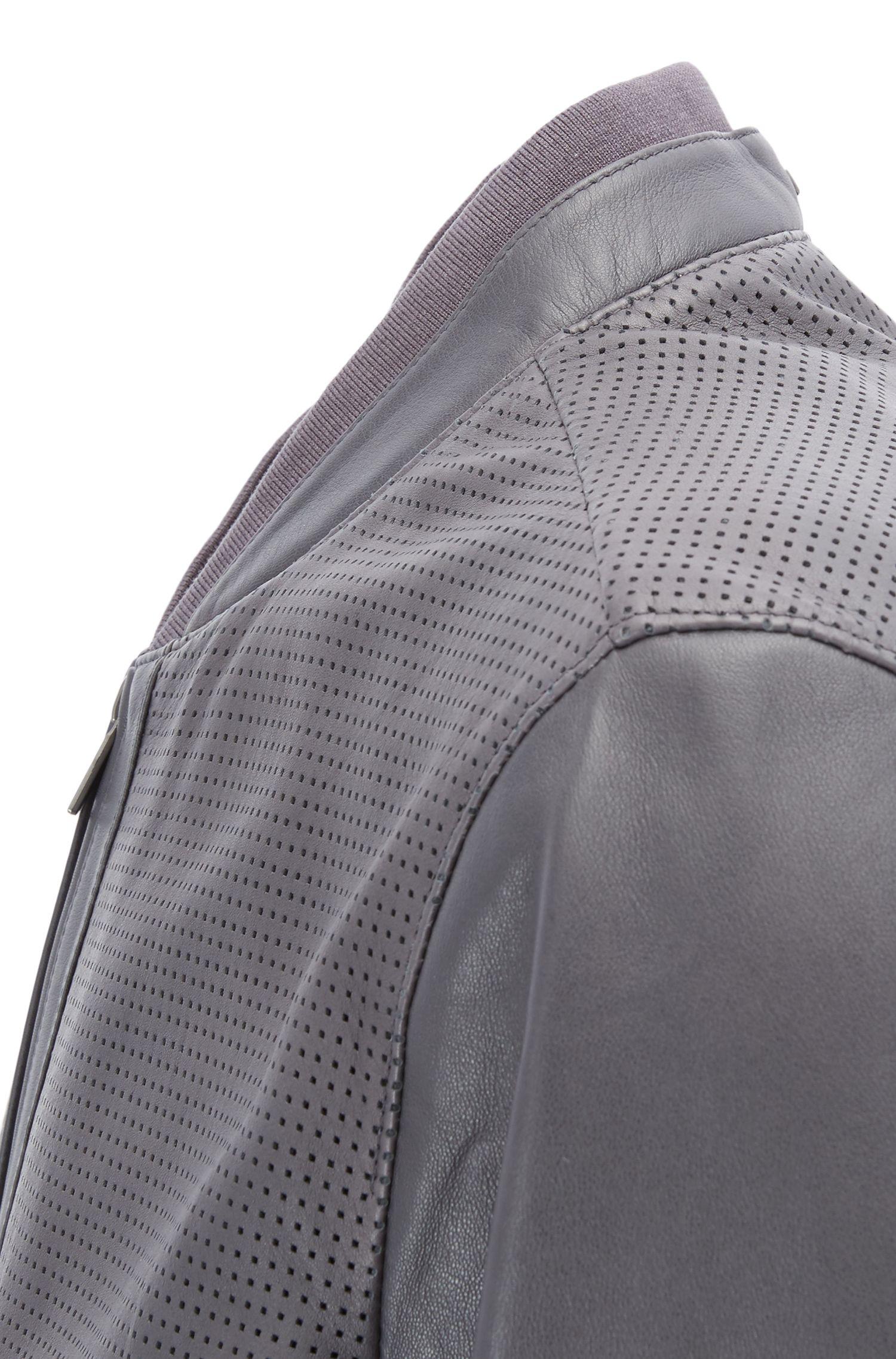 Perforated Sheepskin Leather Jacket | Gerroy