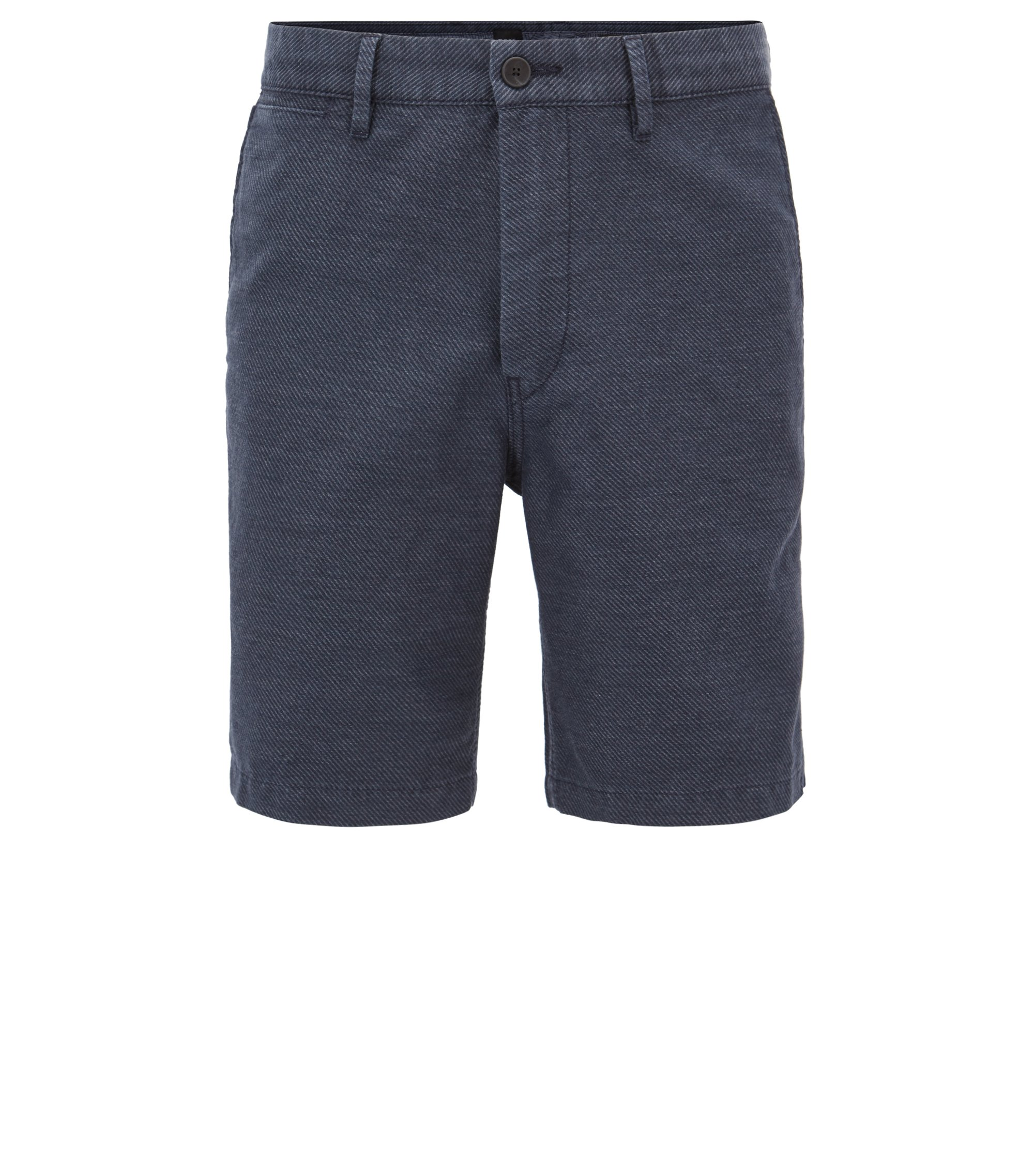 Cotton Linen Blend Short, Tapered Fit | Siman Shorts W, Dark Blue