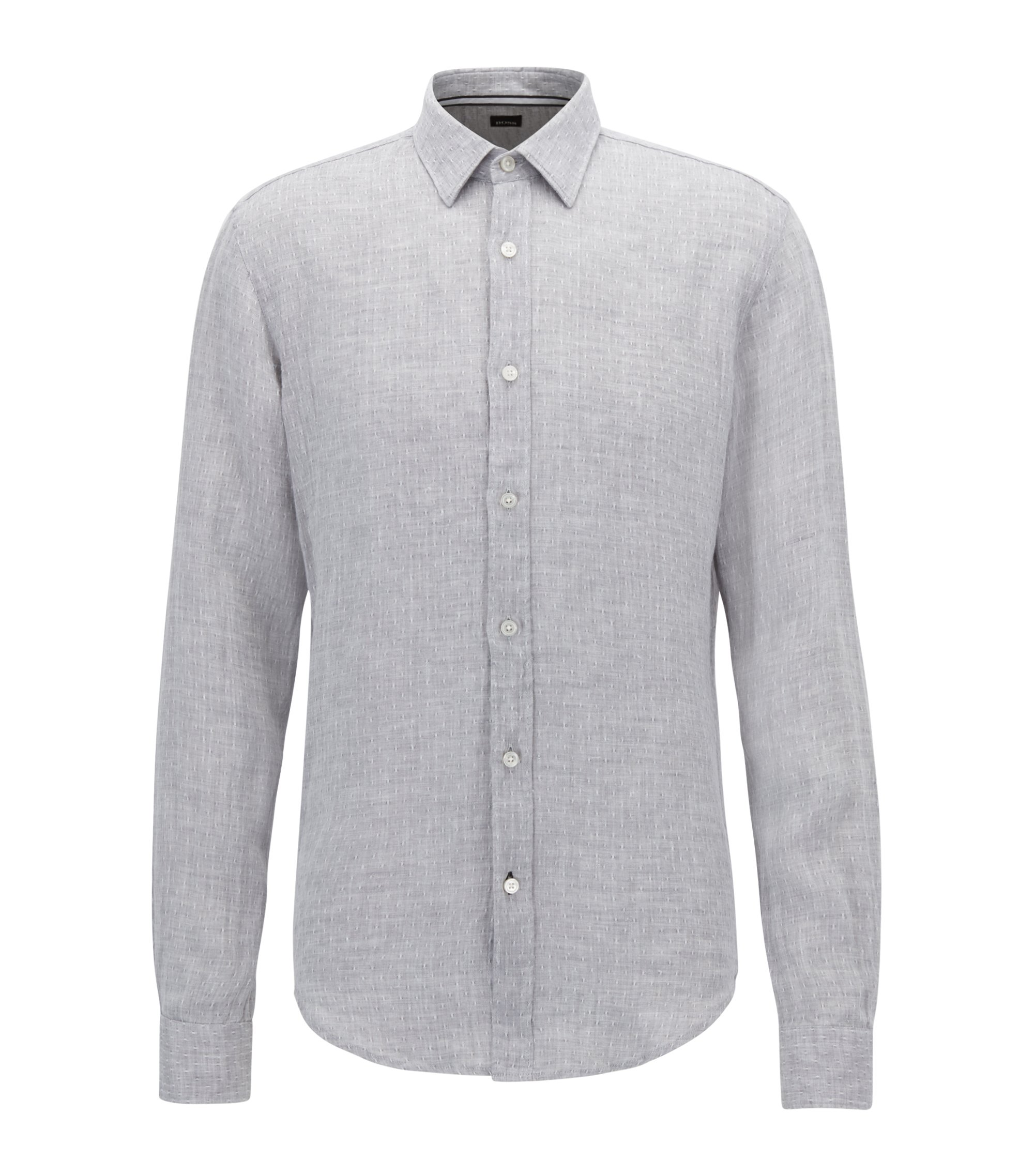 Chambray Linen Shirt, Slim Fit | Ronni, Open Grey