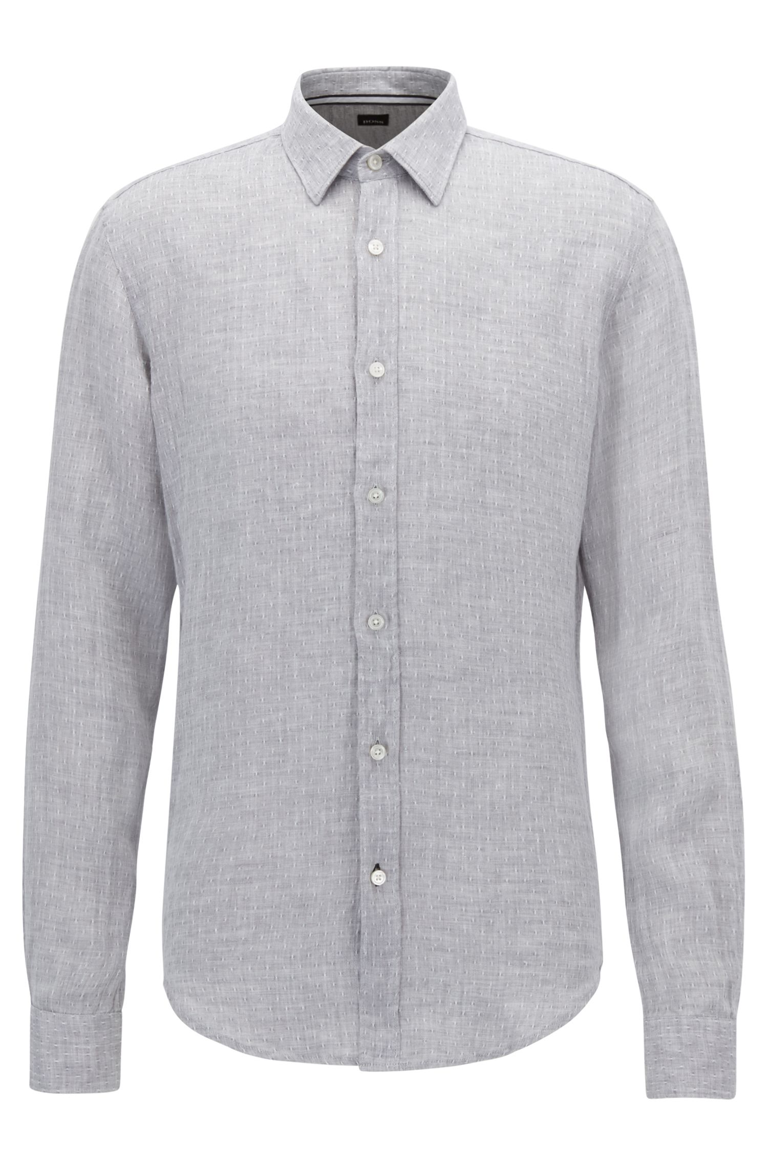 Chambray Linen Shirt, Slim Fit | Ronni