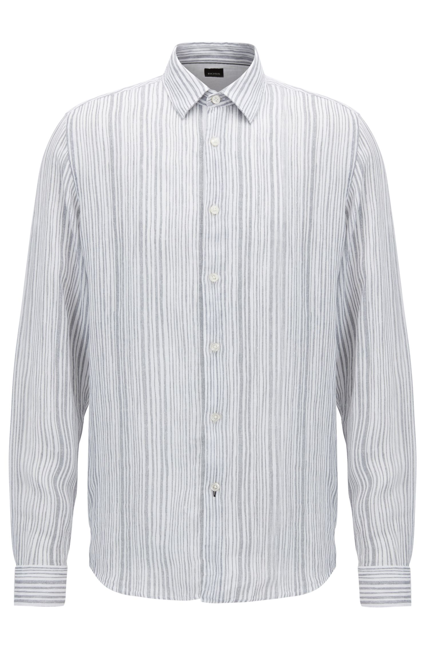Striped Linen Sport Shirt, Regular Fit | Lukas, Open Grey