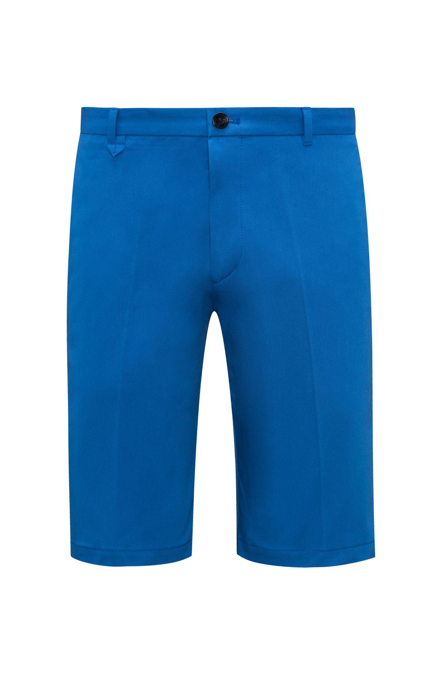 Stretch Cotton Short, Slim Fit | Hano, Open Blue