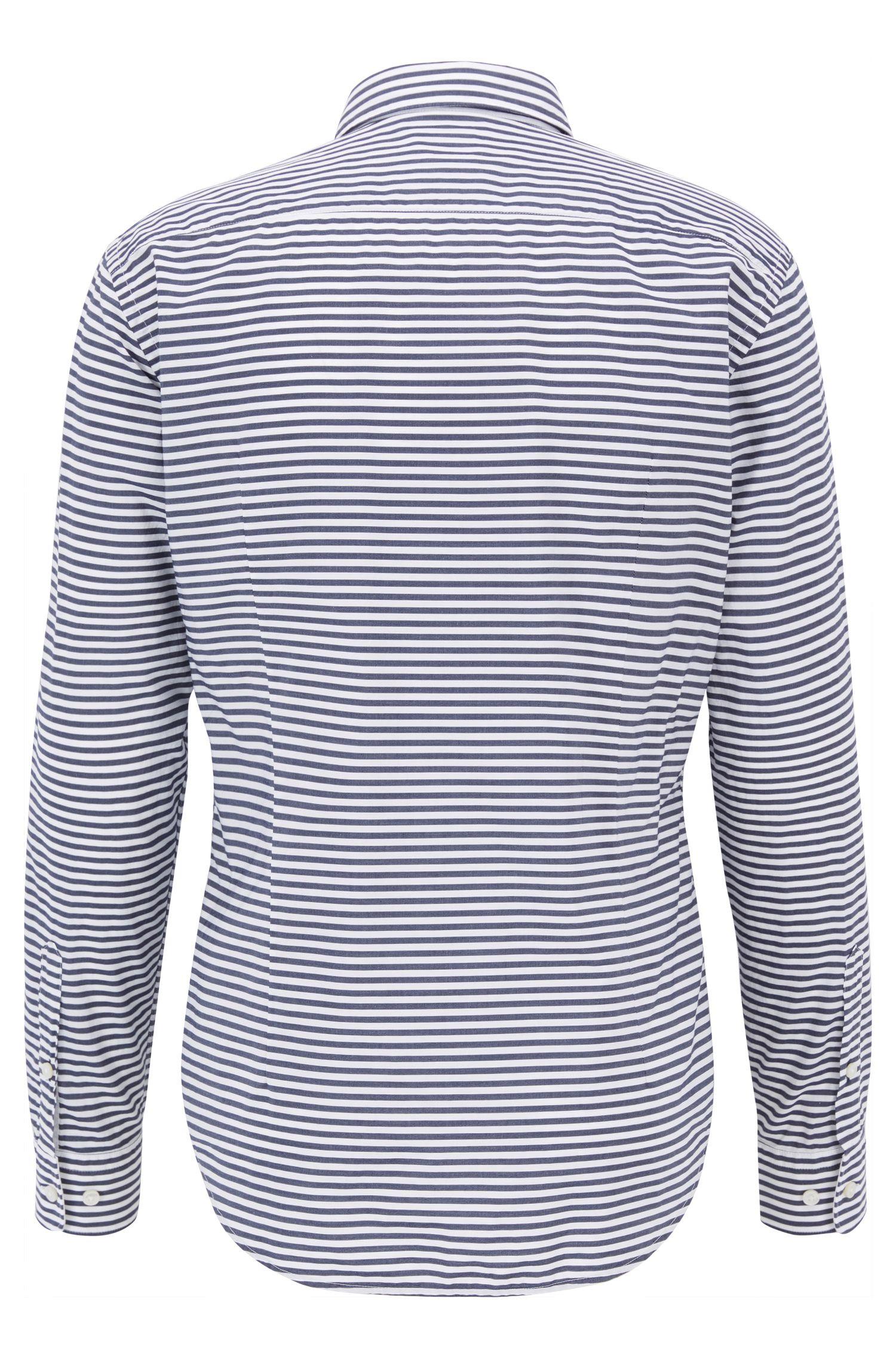 Striped Cotton Sport Shirt, Slim Fit   Ronnie F, Dark Blue