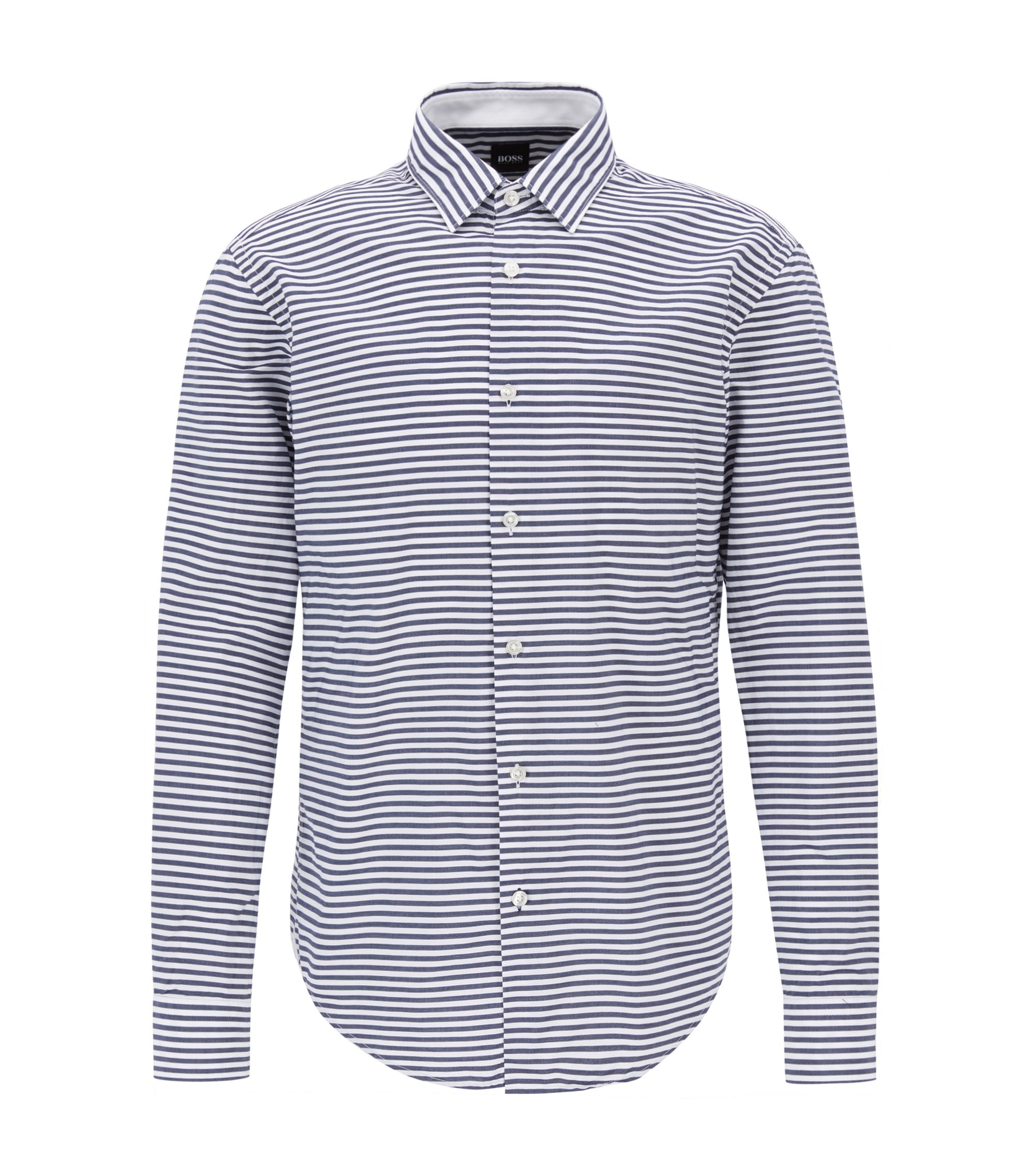 Striped Cotton Sport Shirt, Slim Fit | Ronnie F, Dark Blue