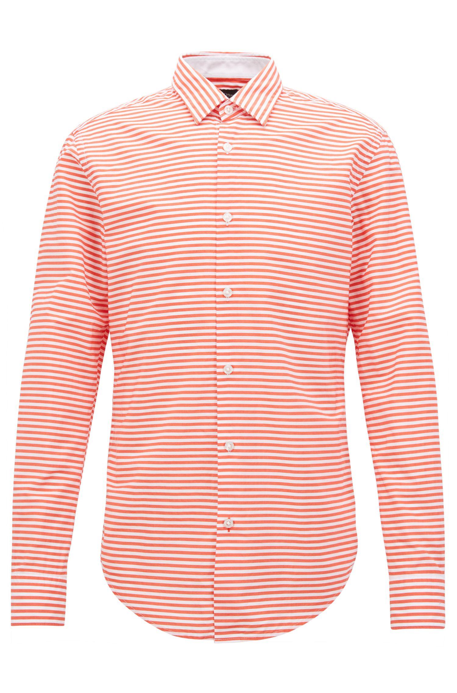 Striped Cotton Sport Shirt, Slim Fit | Ronnie F, Orange