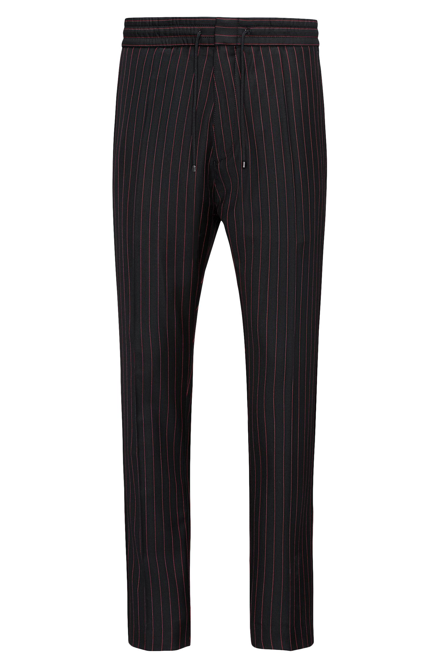 Pinstriped Virgin Wool Pant, Tapered Fit | Himesh