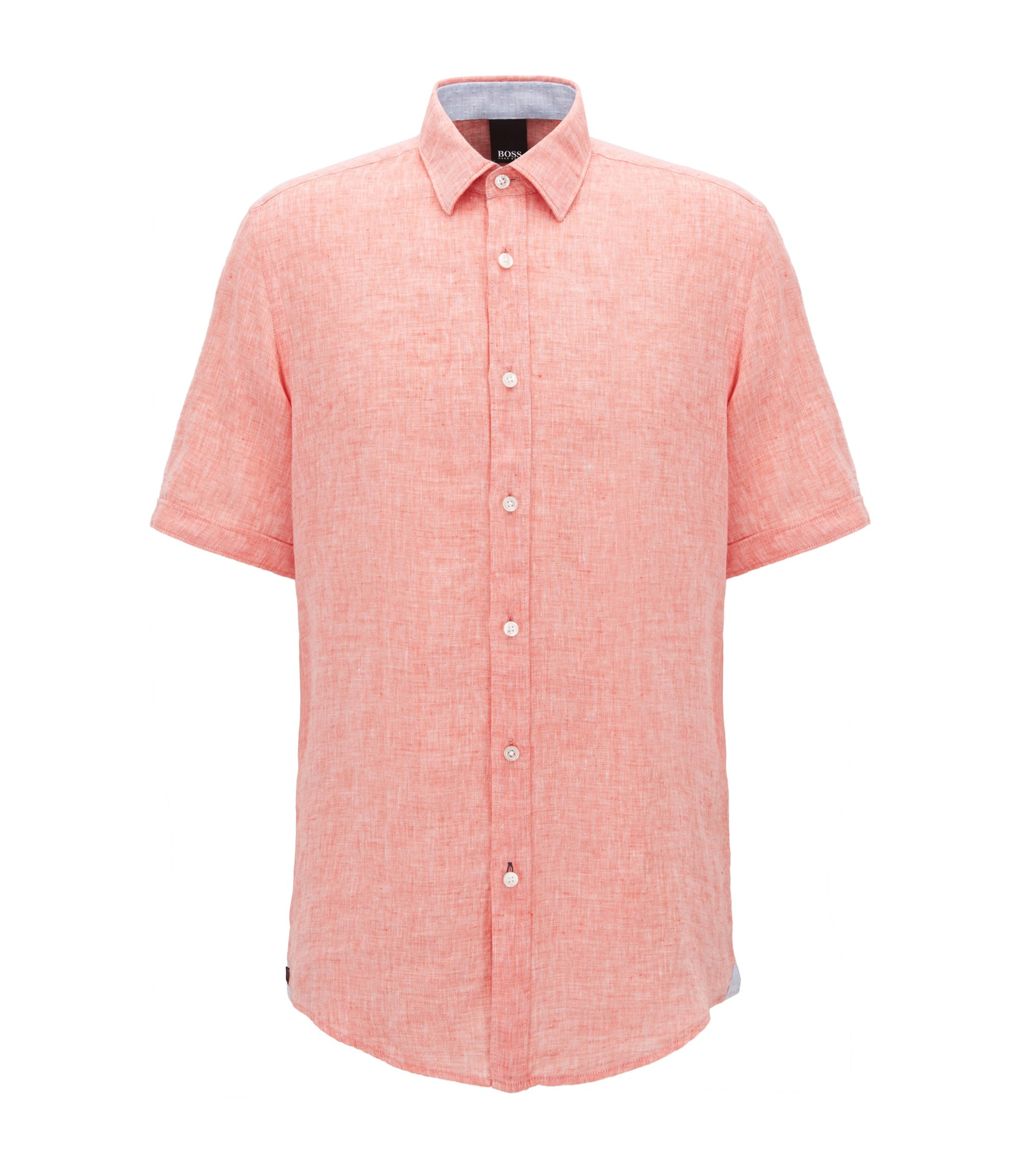 Linen Sport Shirt, Regular Fit | Luka, Orange