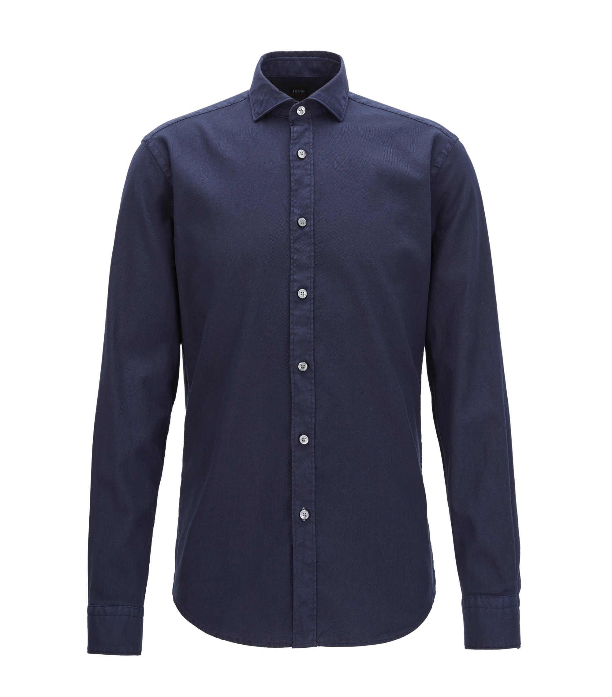 Stretch Cotton Sport Shirt, Slim Fit | Ridley, Dark Blue