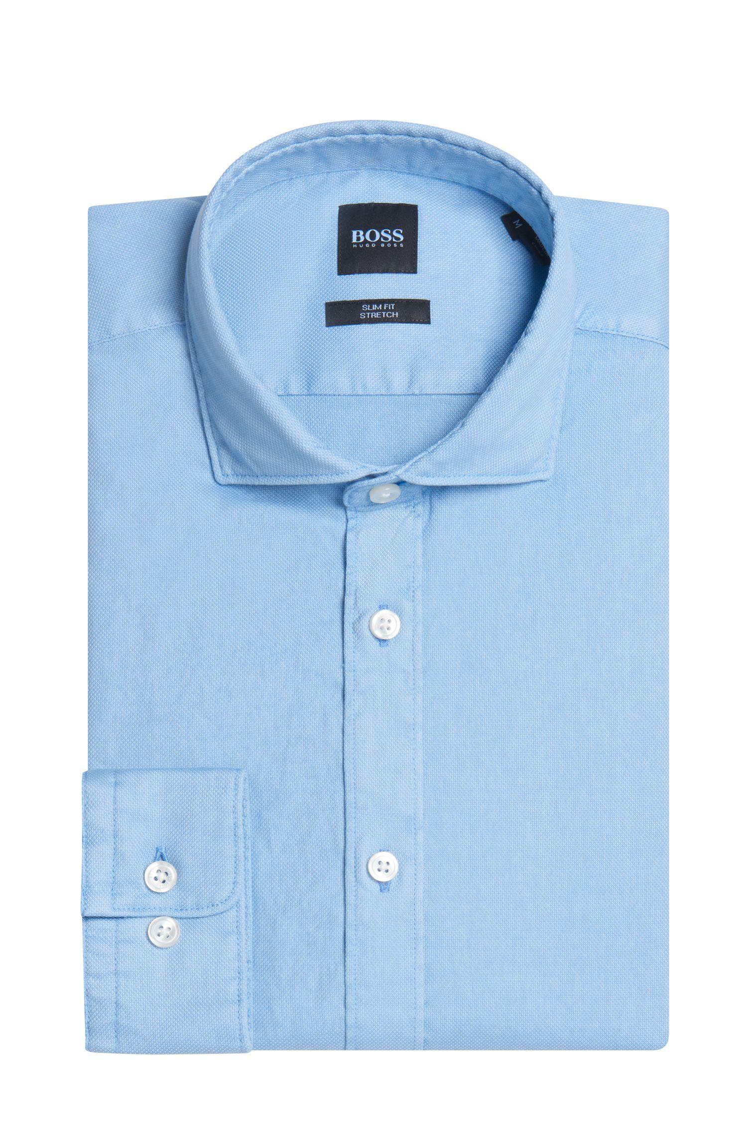 Stretch Cotton Sport Shirt, Slim Fit | Ridley, Dark Blue