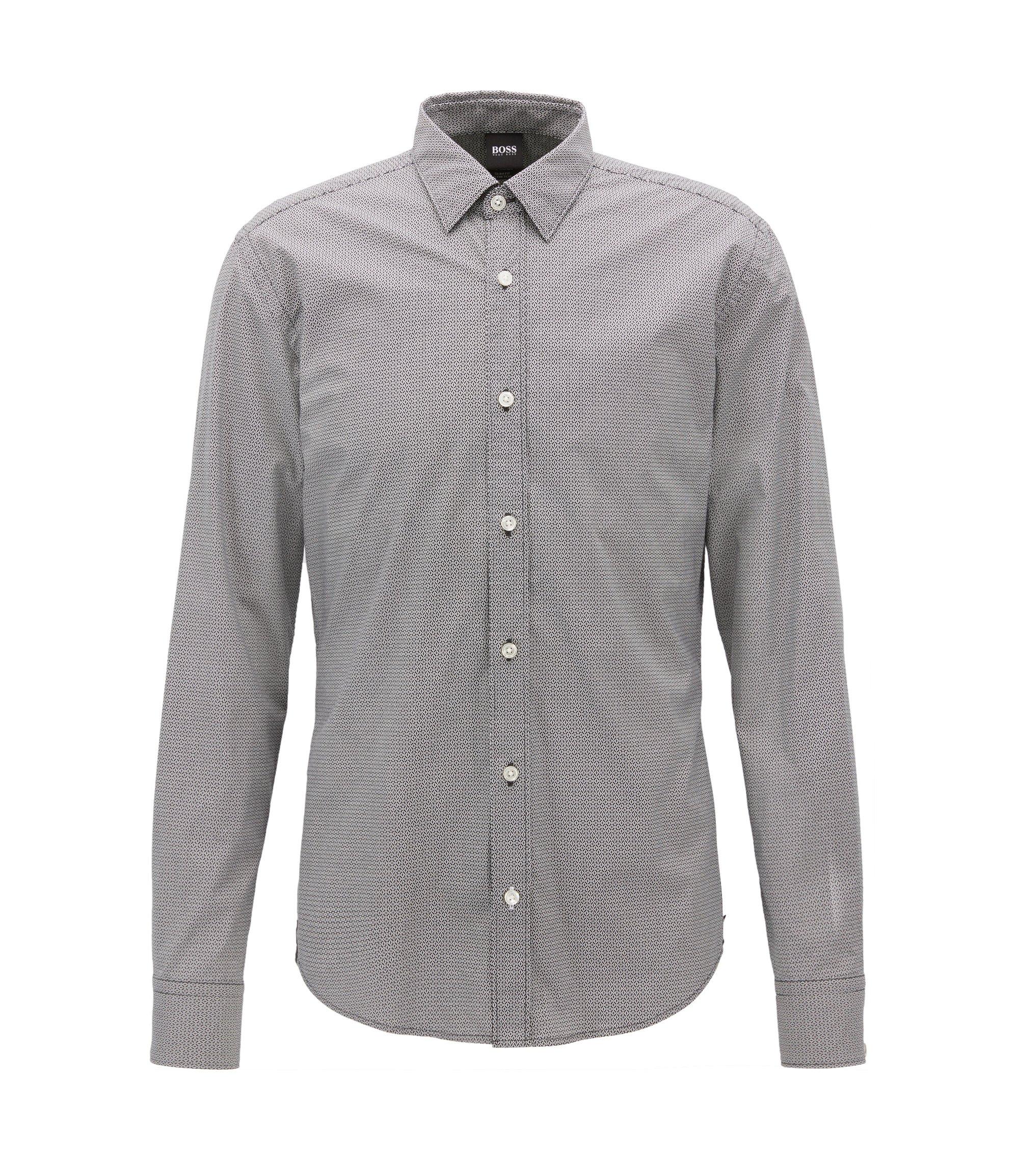 Mercedes-Benz Patterned Stretch Sport Shirt, Slim Fit | Reid, Black