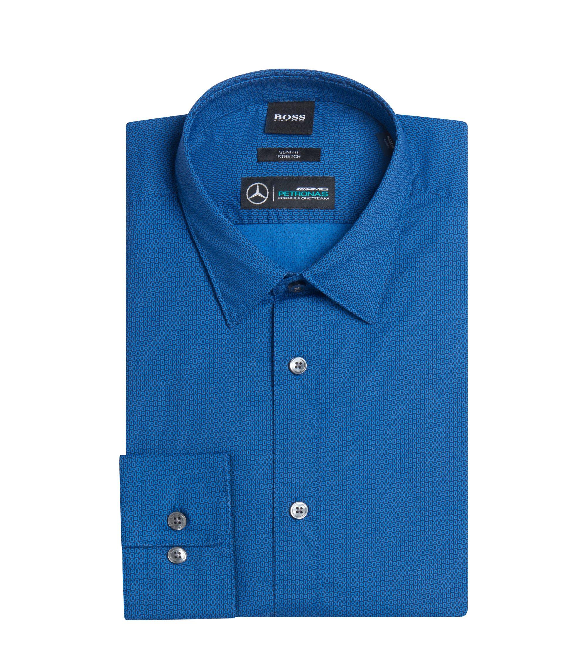 Mercedes-Benz Patterned Stretch Sport Shirt, Slim Fit   Reid, Dark Blue