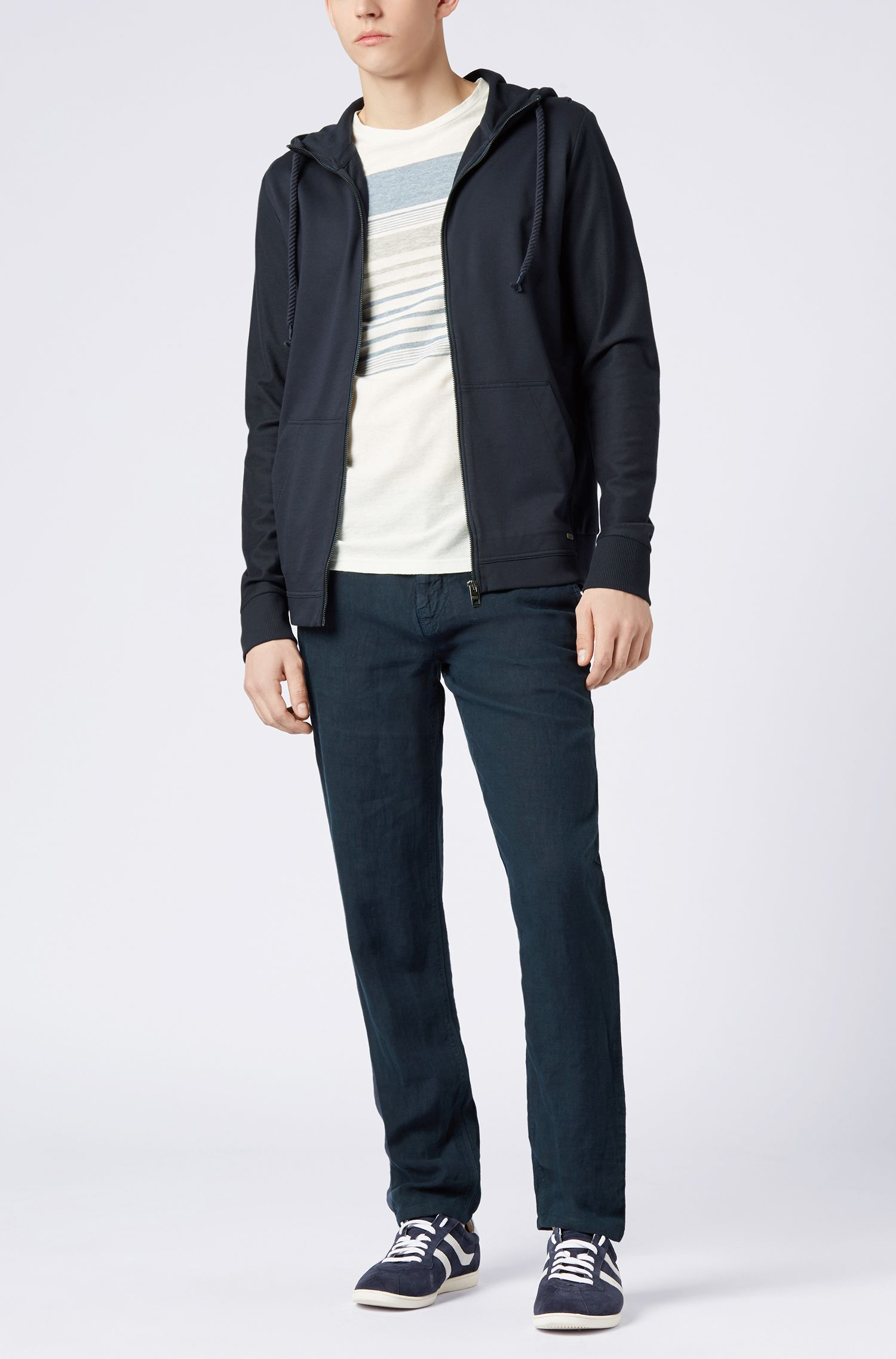 Linen Pants, Tapered Fit   Stapered4-D, Dark Blue
