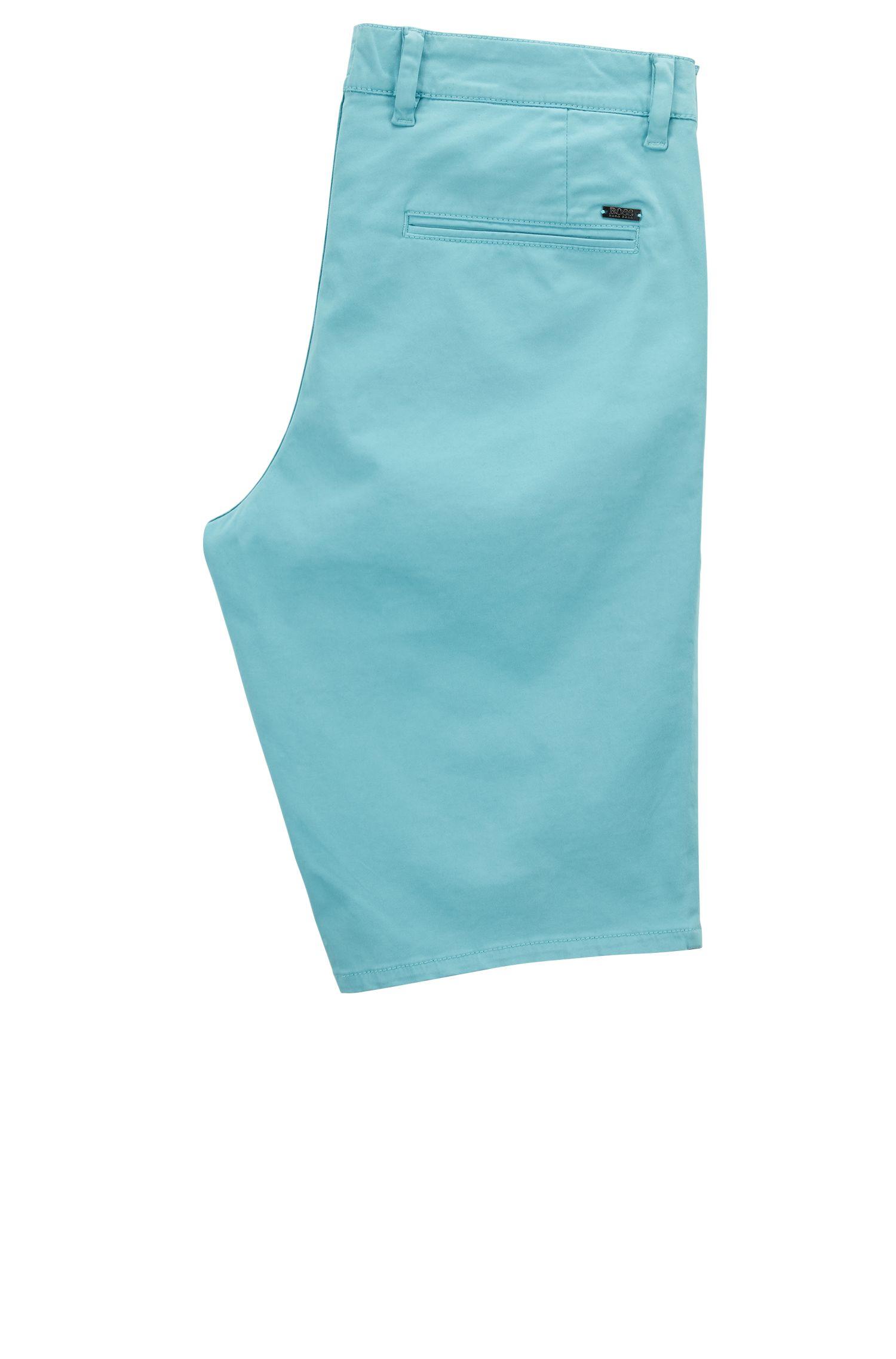 Stretch Cotton Chino Short, Slim Fit | Schino Slim Shorts D, Turquoise