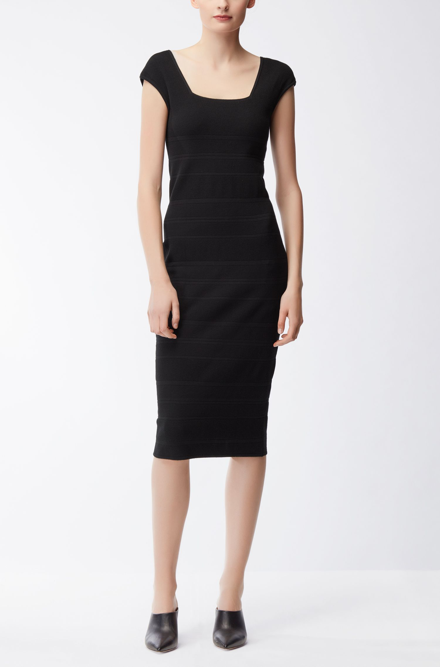 Ribbed Sheath Dress | Finamica, Black