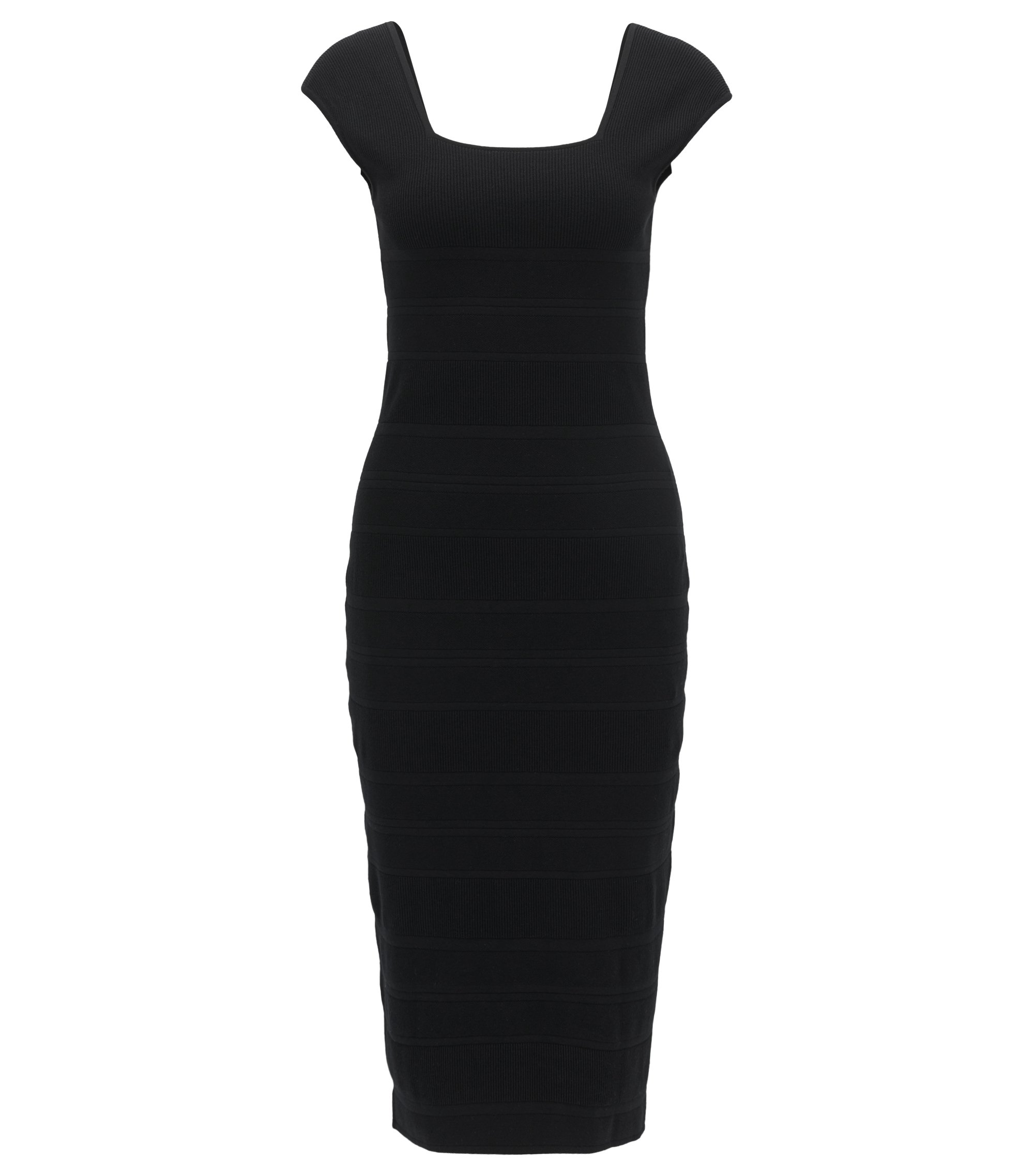 Ribbed Sheath Dress | Finamica, Black