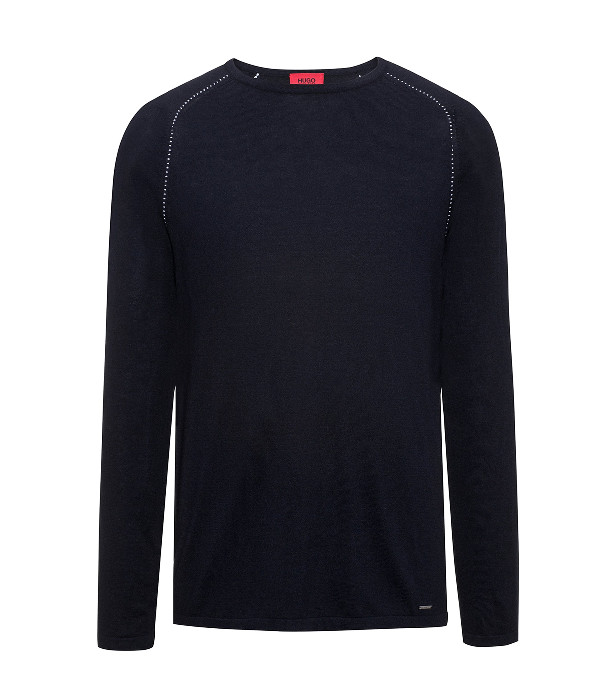 Cotton Blend Raglan-Stitched Sweater | Sevon, Dark Blue
