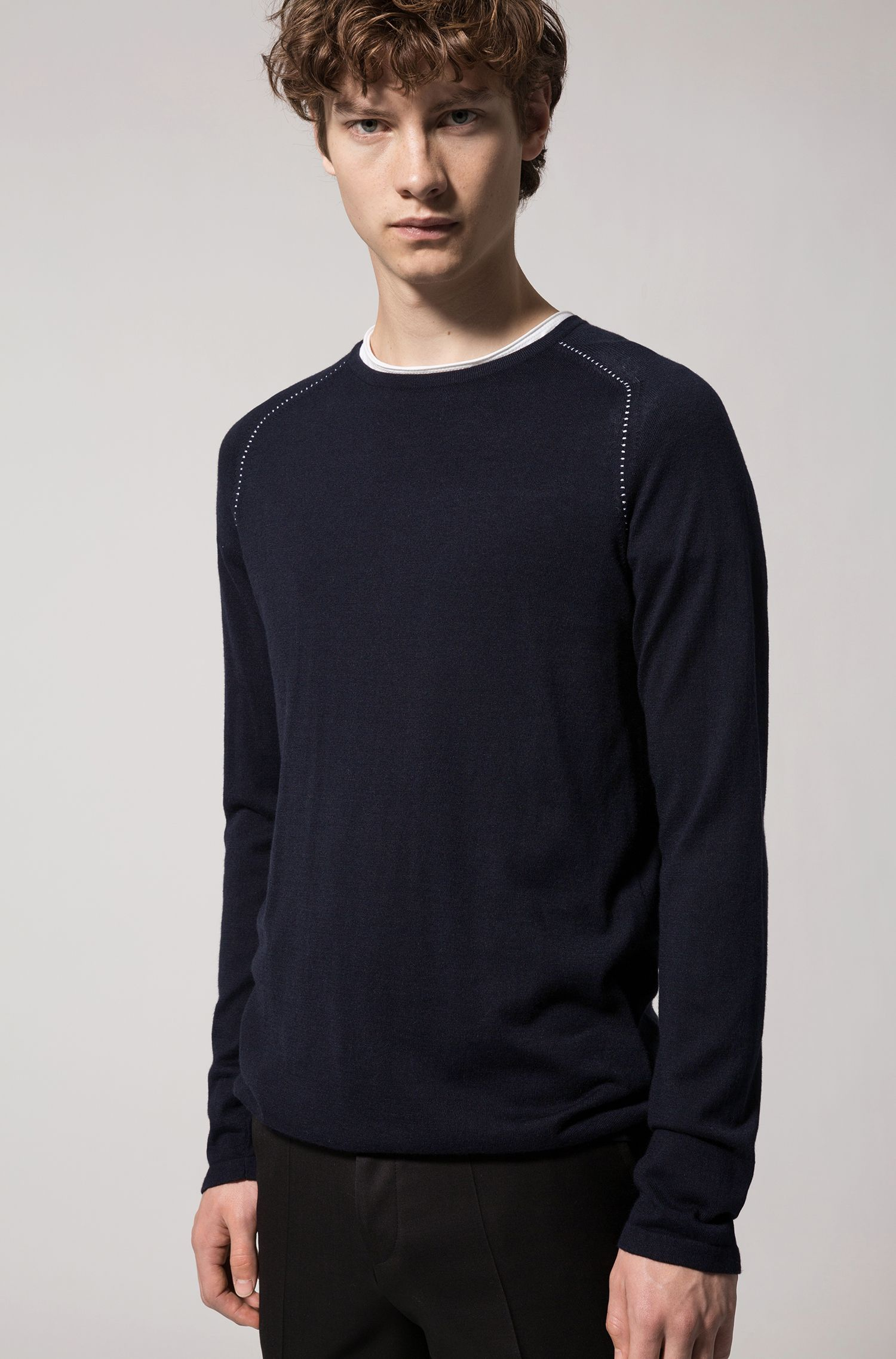 Cotton Blend Raglan-Stitched Sweater | Sevon