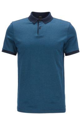 Mercerized Cotton Polo Shirt, Slim Fit | Penrose, Dark Blue