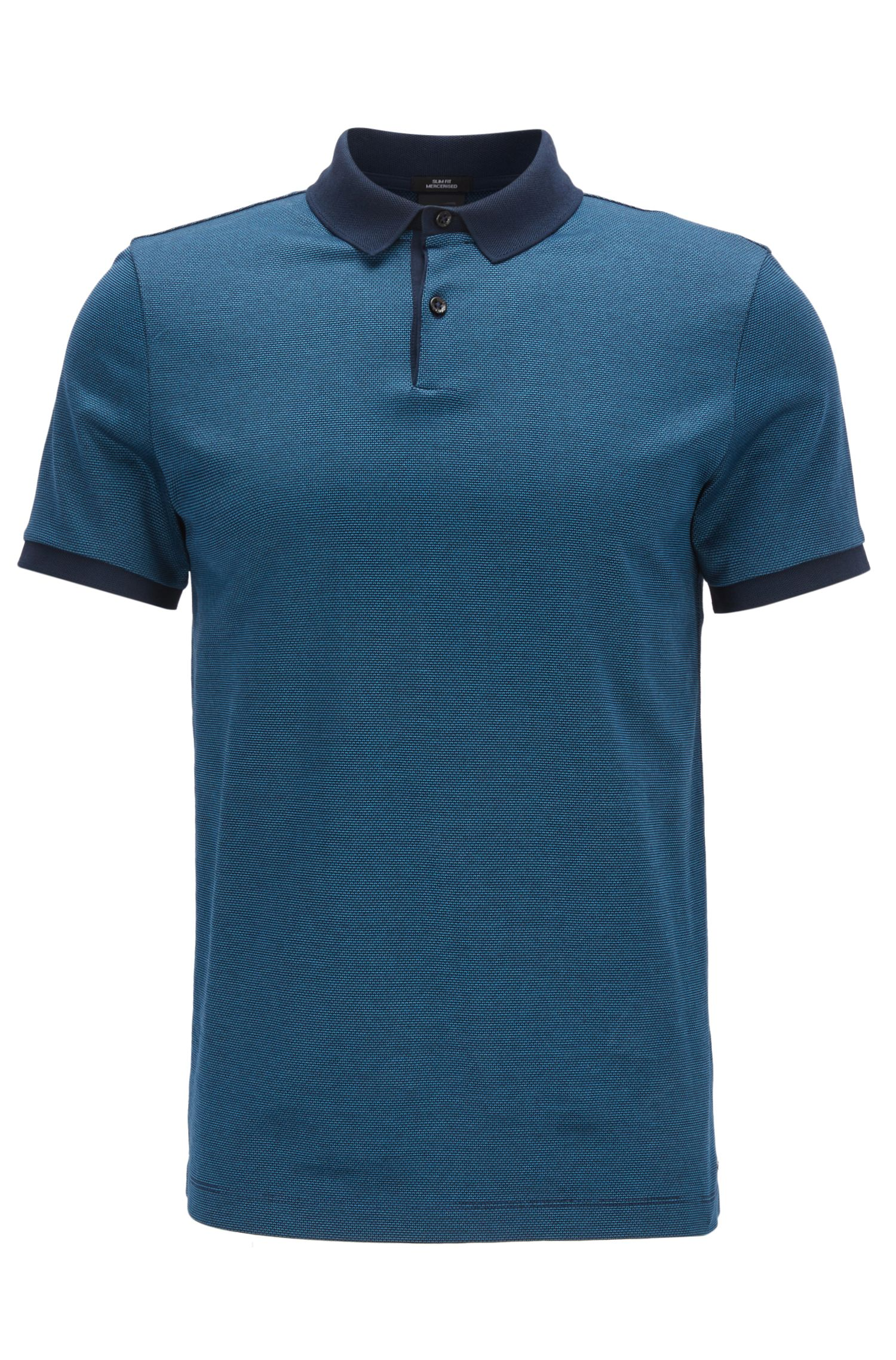 Mercerized Cotton Polo Shirt, Slim Fit | Penrose, Dark Blue