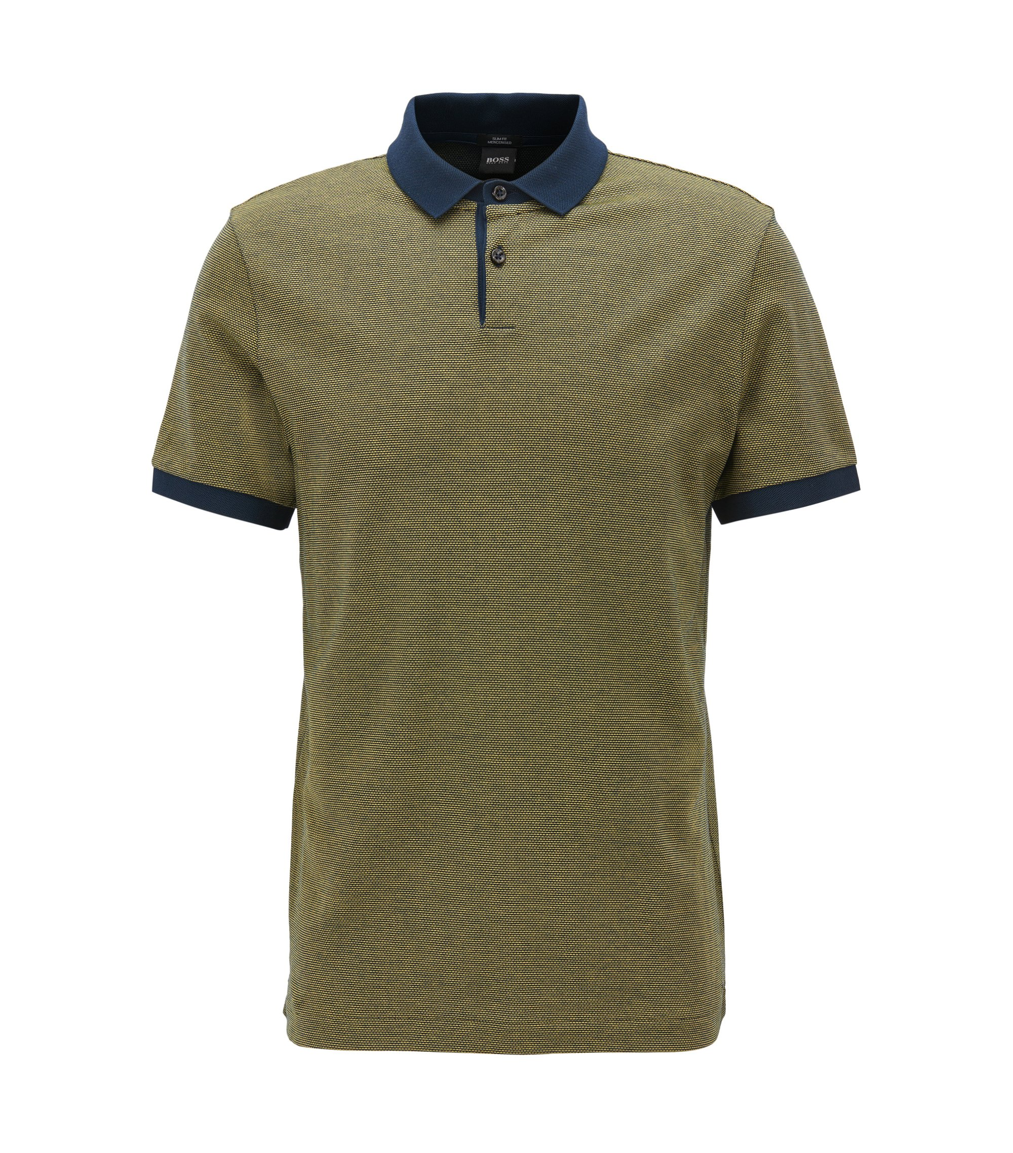 Mercerized Cotton Polo Shirt, Slim Fit | Penrose, Yellow