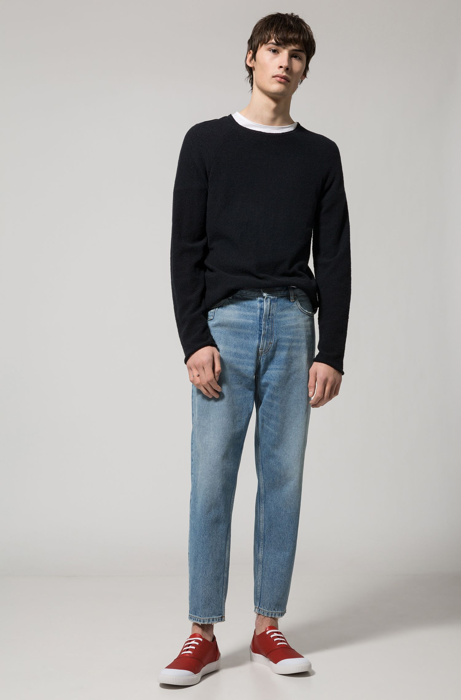 Cotton Blend Boucle Sweater | Solerino , Black