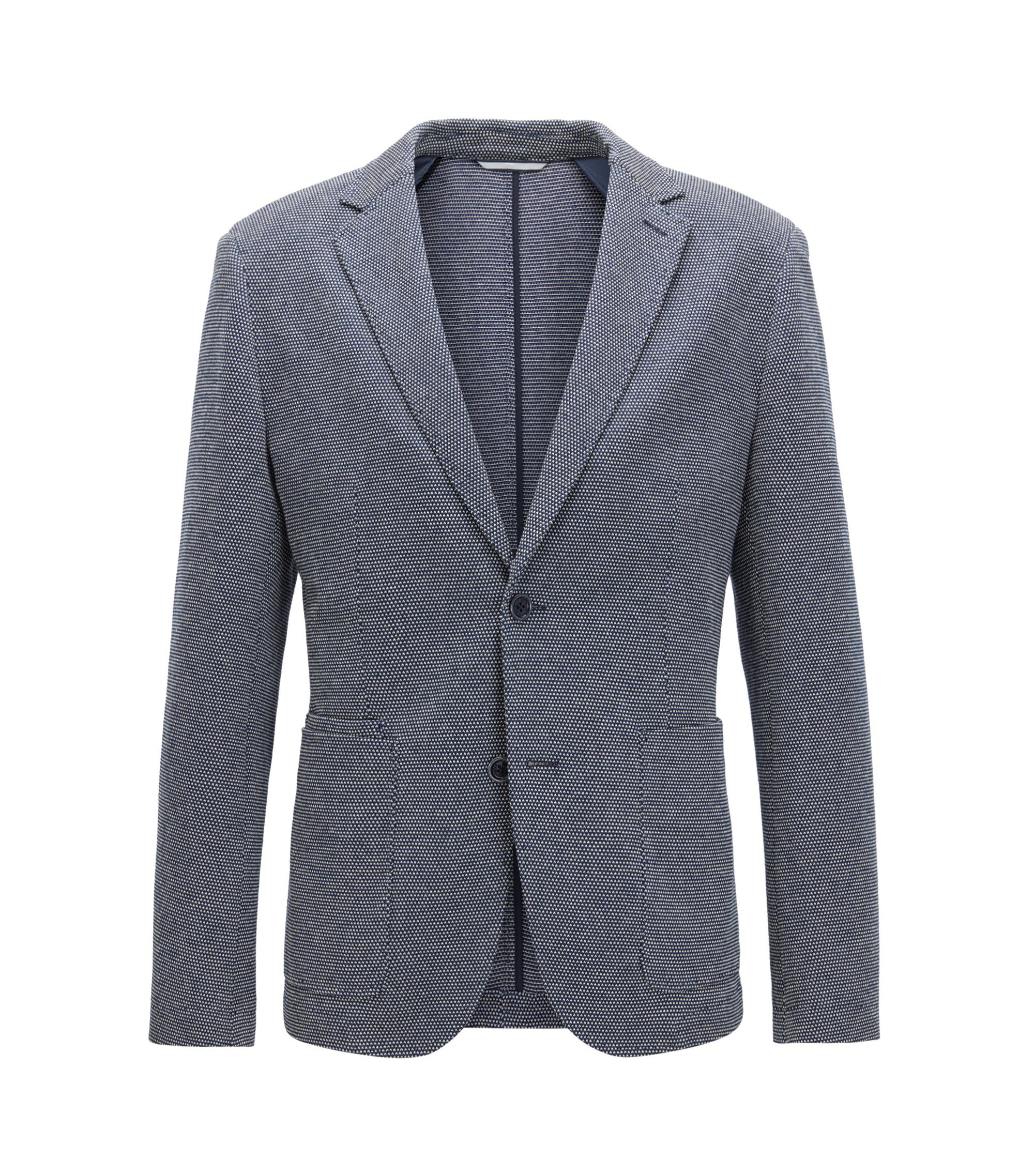 Cotton Linen Sport Coat, Slim Fit | Neldon J, Dark Blue